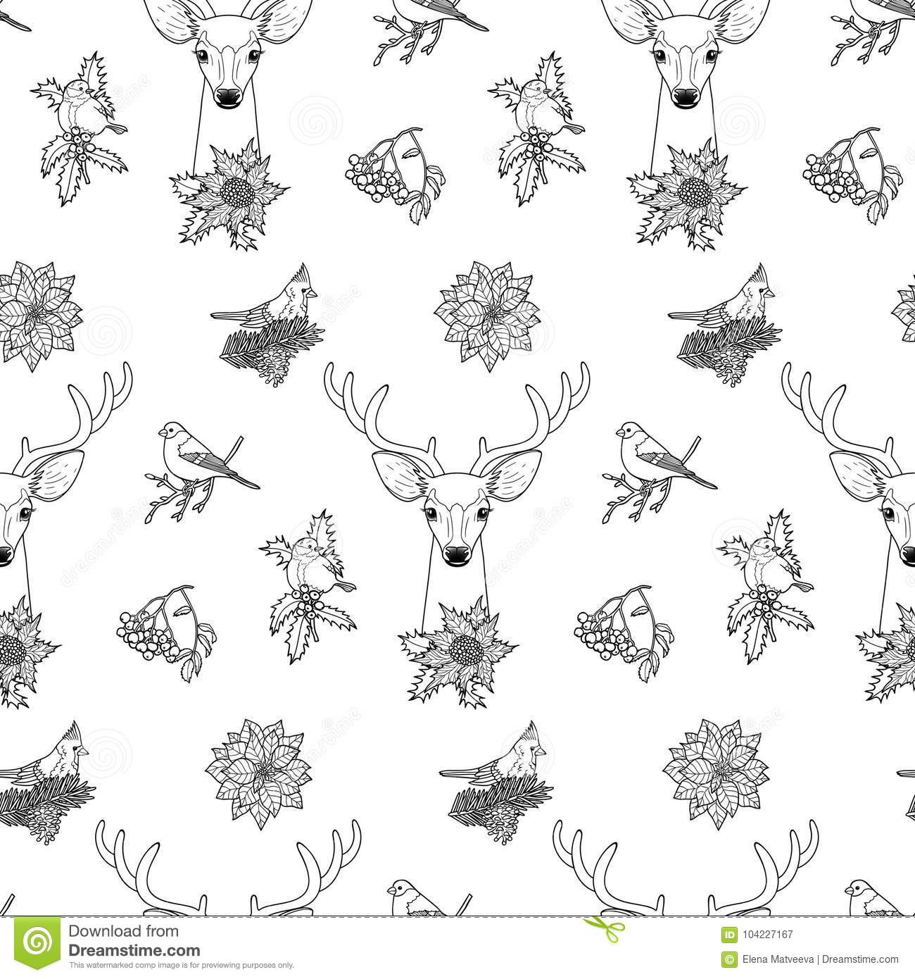 winter plants deer birds seamless pattern nature black white background greeting cards mock ups coloring page covers
