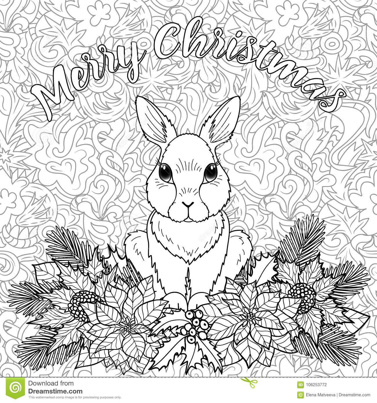 merry christmas coloring page with rabbit