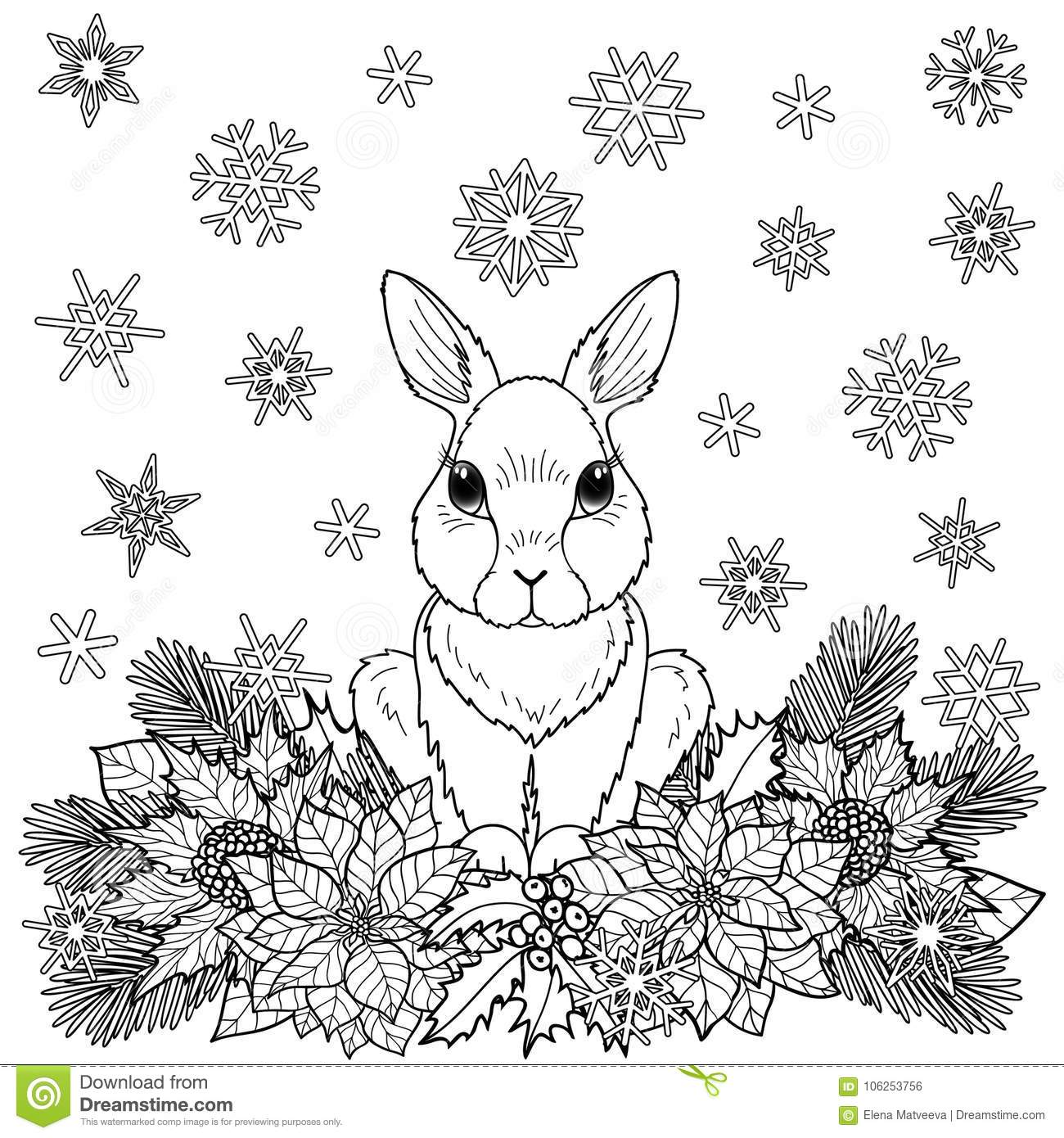 winter nature coloring pages | Winter Coloring Page With Rabbit Stock Vector ...