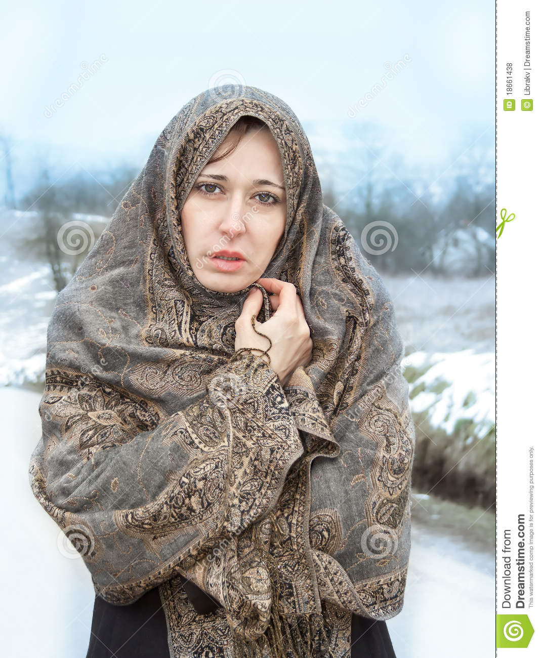 Winter portrait of a beautiful woman