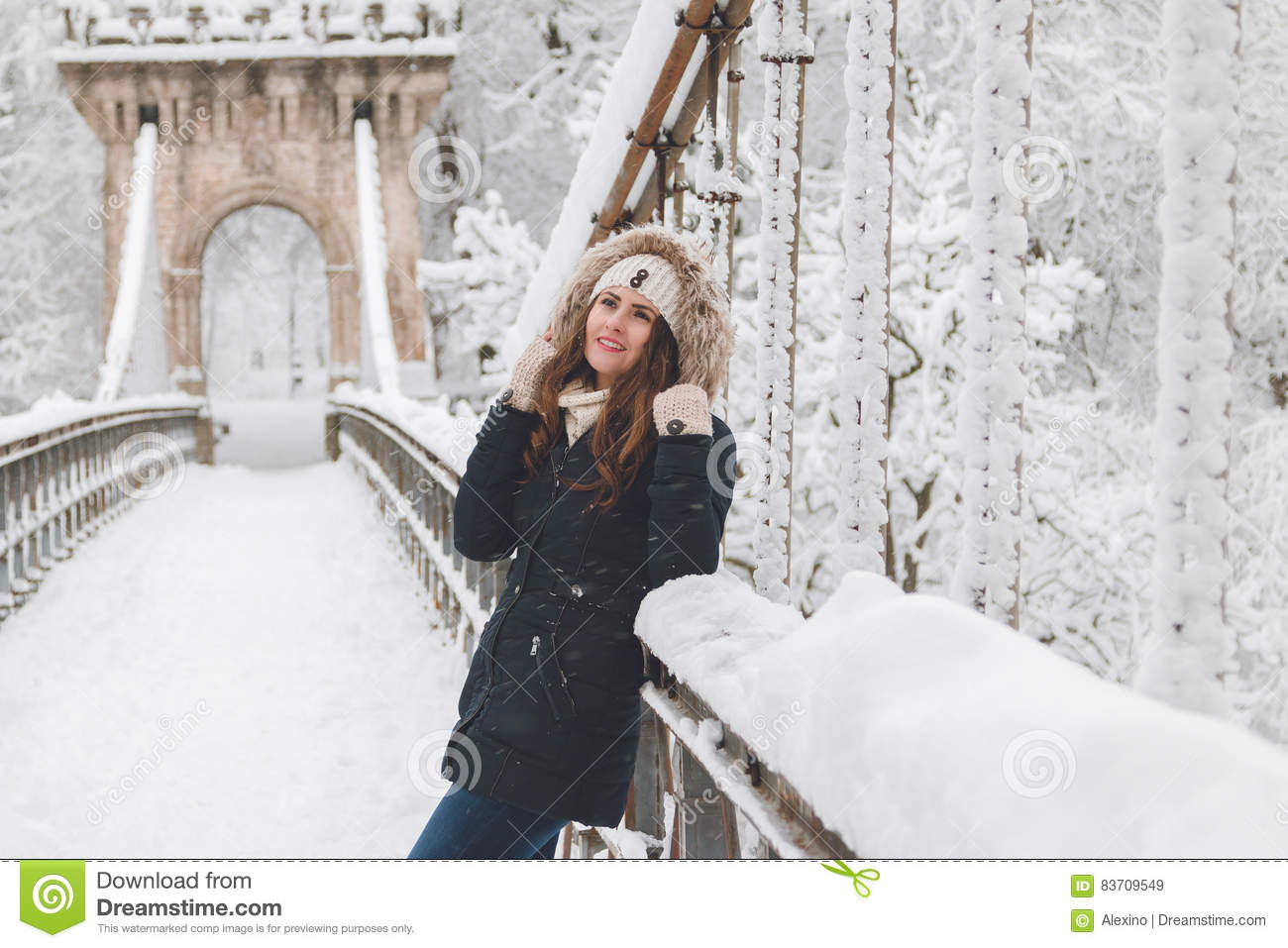 Winter Portrait Of A Beautiful Woman In The Snowfall Stock Photo
