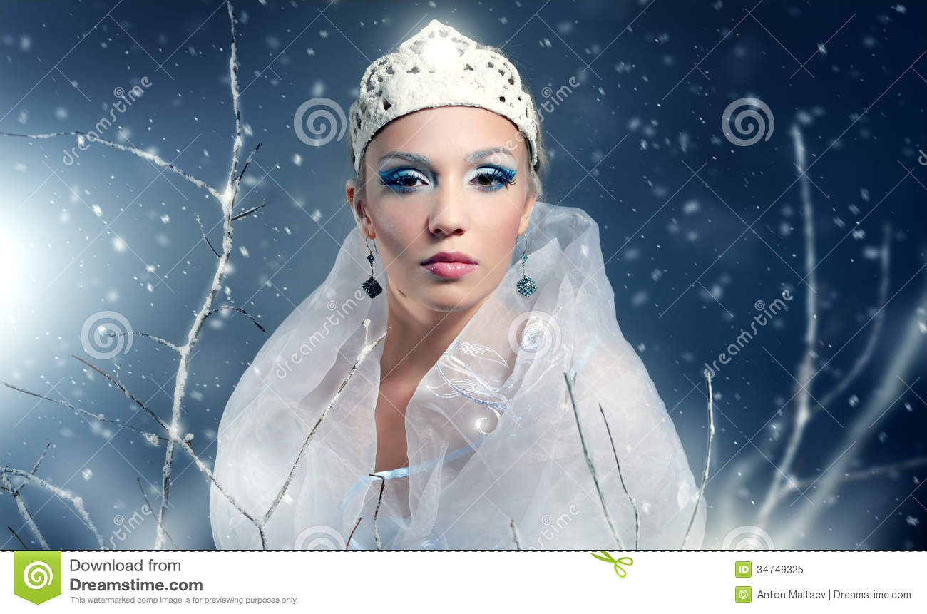Winter Queen Stock Image Image Of Branch Holiday Makeup