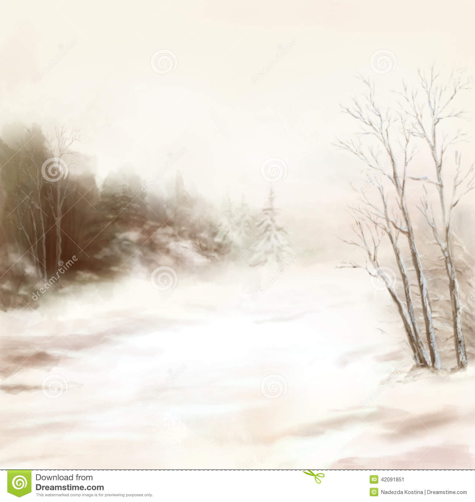 Winter River Birds Watercolor Landscape In Mist Stock