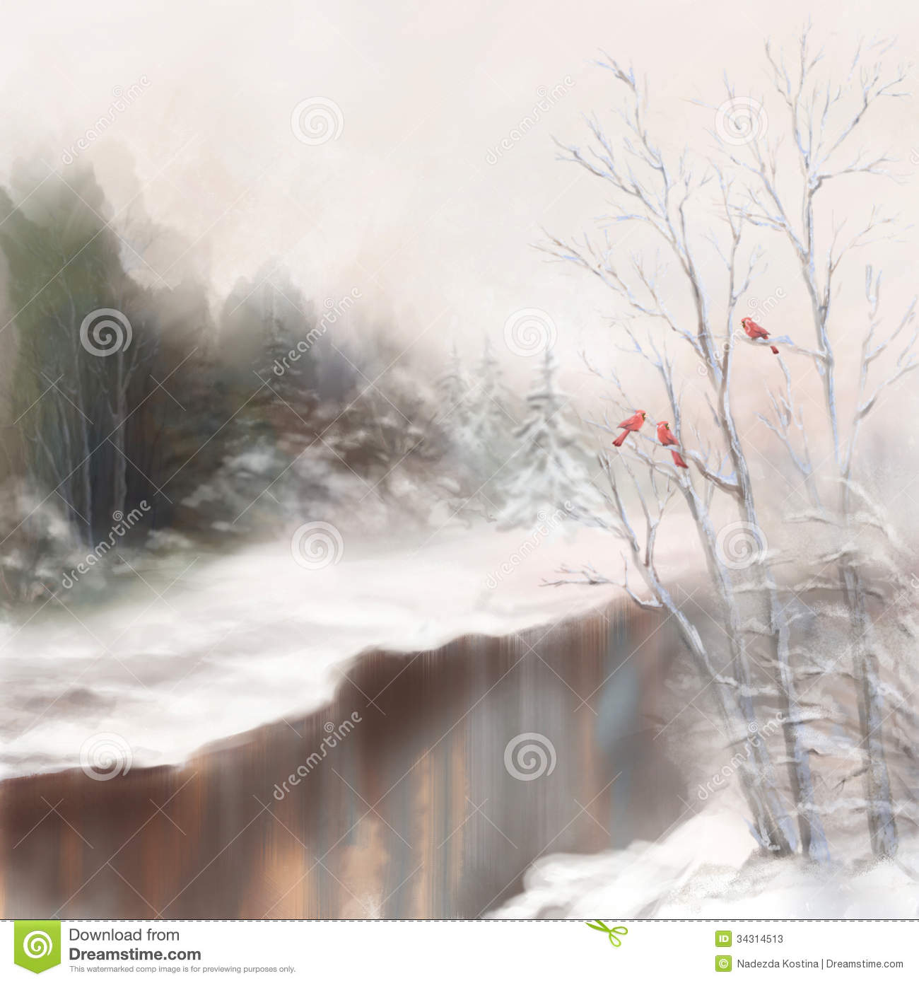 Winter watercolor landscape. Snowy picture scene in mist with snow ...