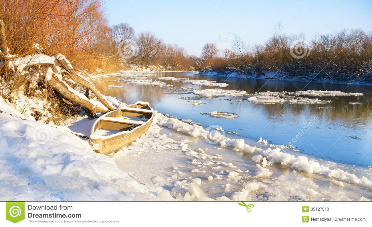 The Winter River Stock Photo - Image: 35127810