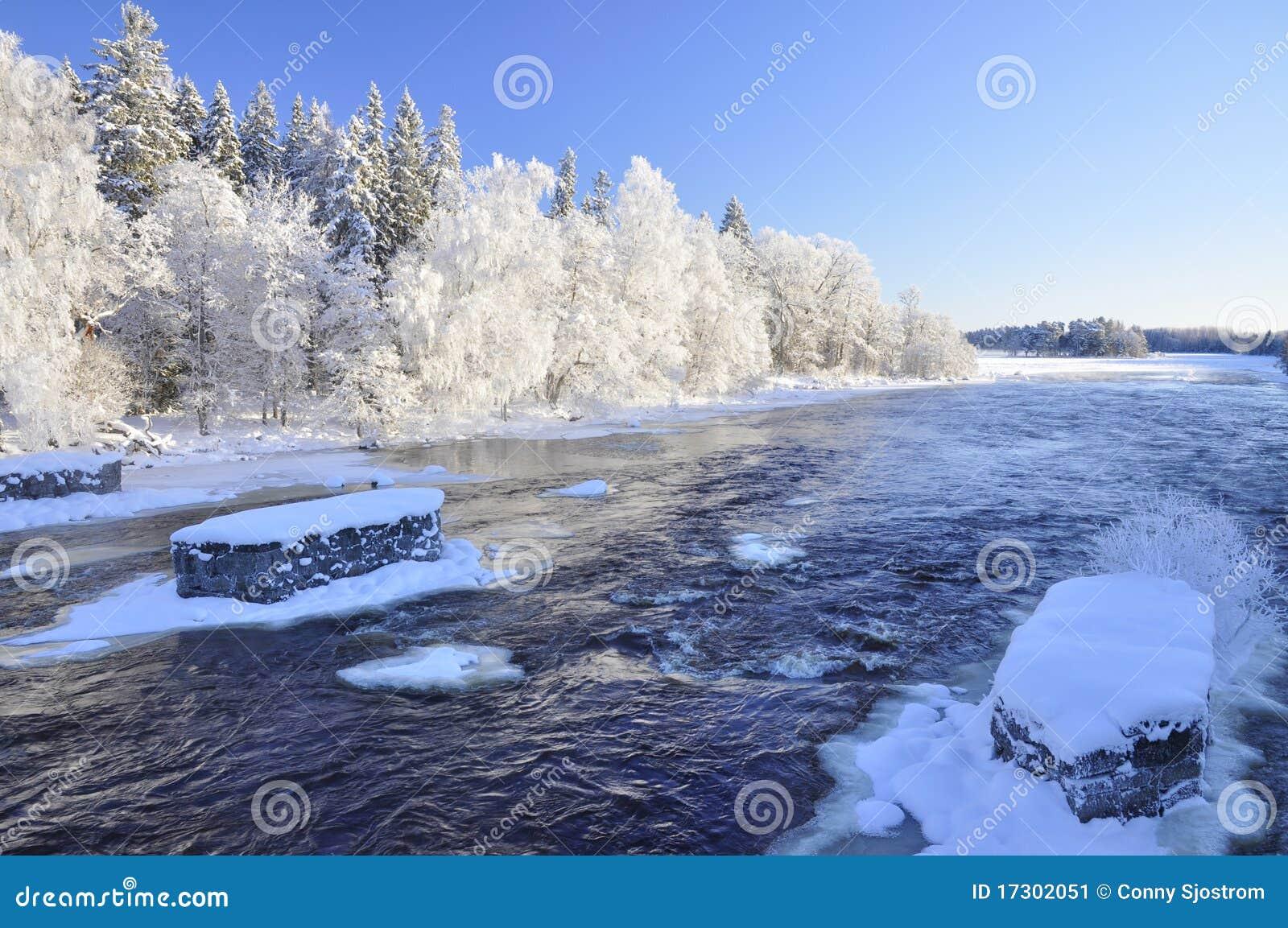 Download Winter River Landscape Stock Image Of Trees Rural