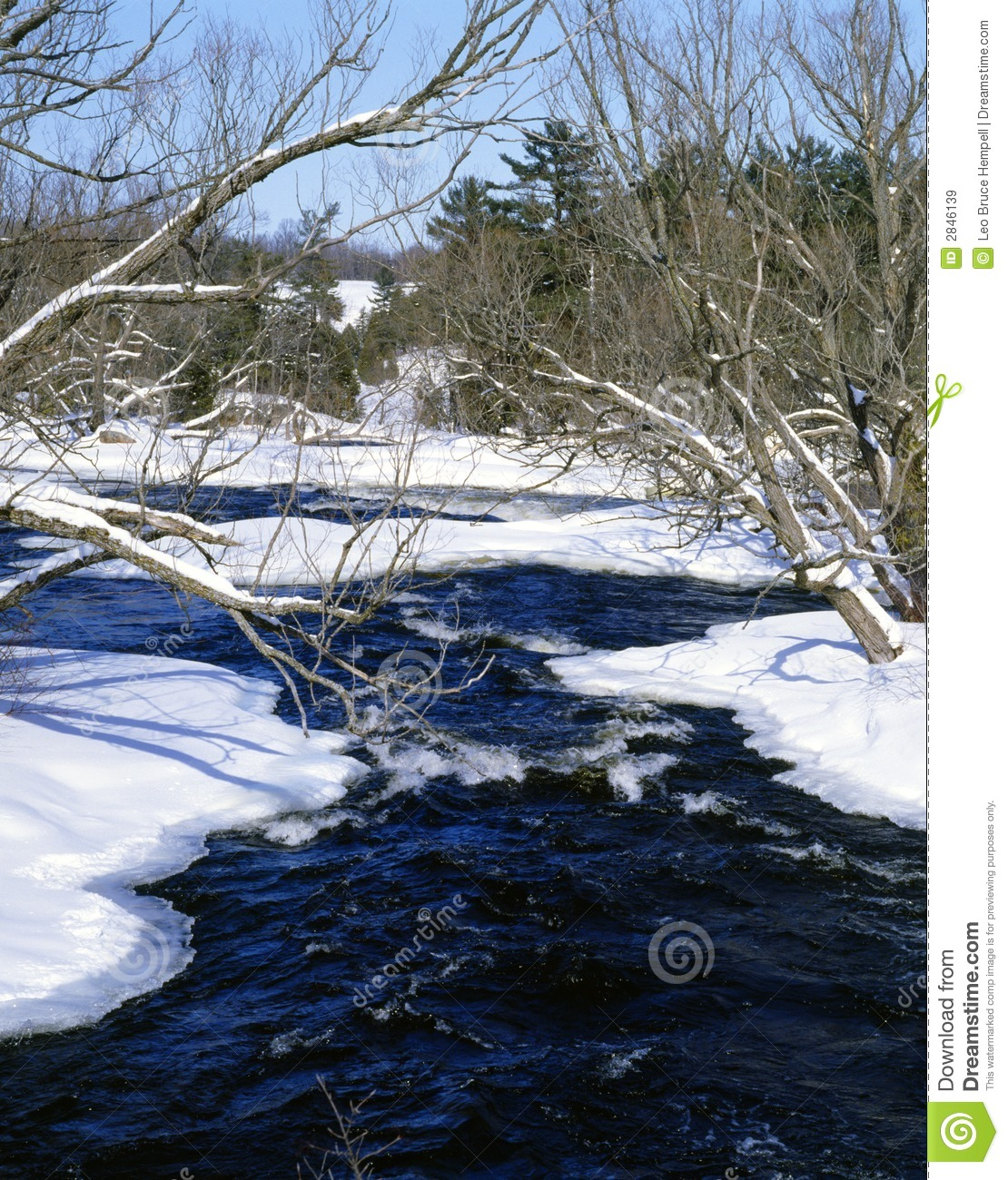 Winter River Scene Ontario Canada
