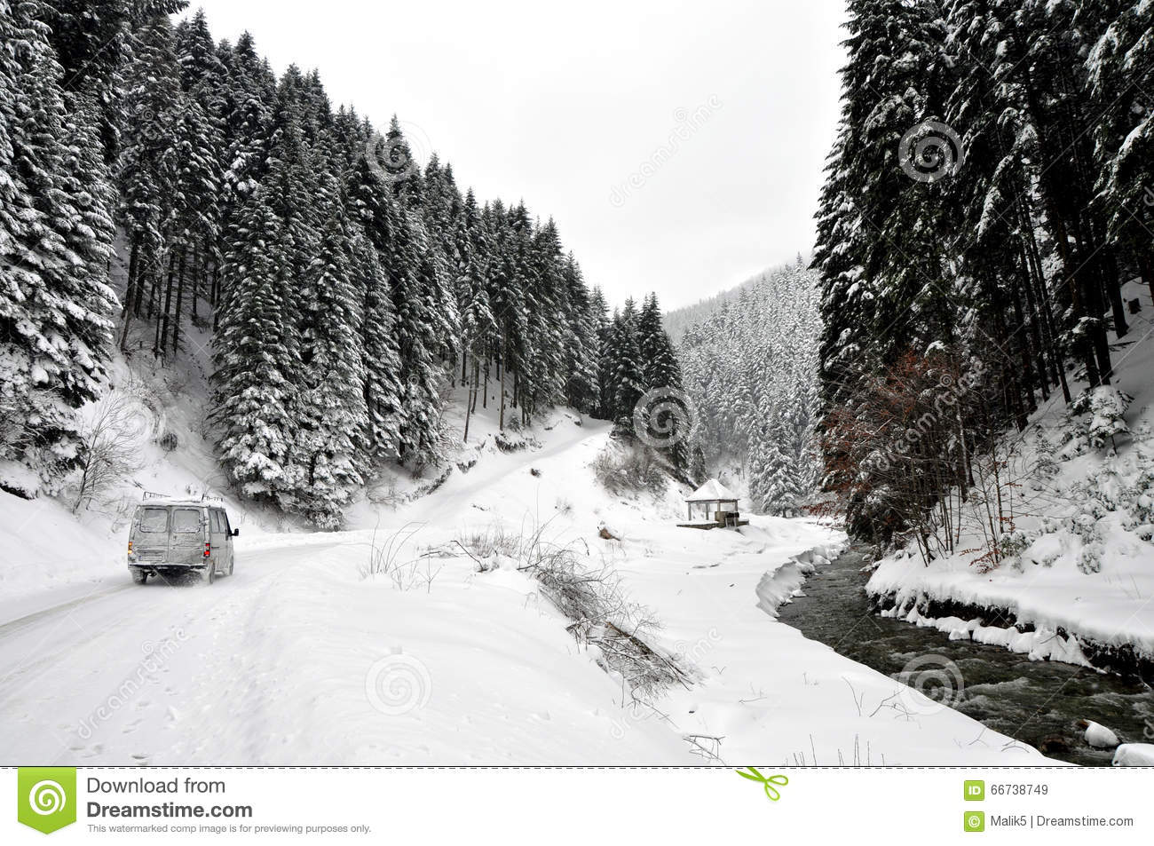 Winter road in country side with fir trees