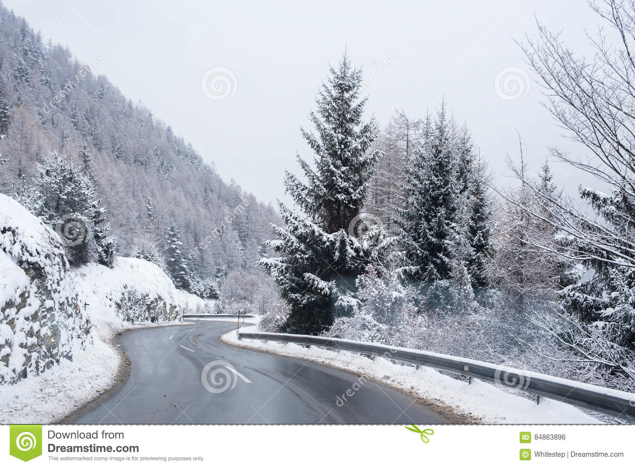 Winter Road Icy Forest Covered Snow Scenic Mountain Austria