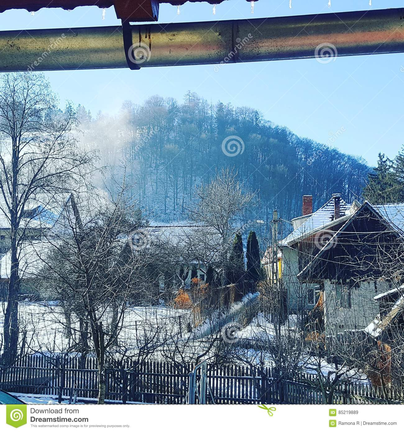 Winter in a romanian mountains village