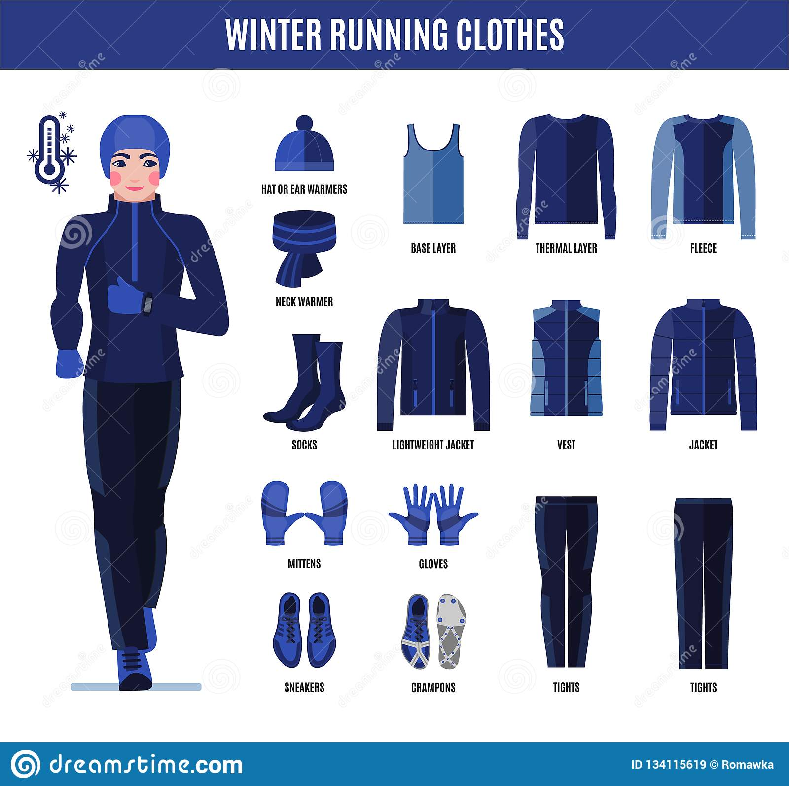 3c31af81aa9c Winter Running Clothes Set For Man In Flat Style Stock Vector ...