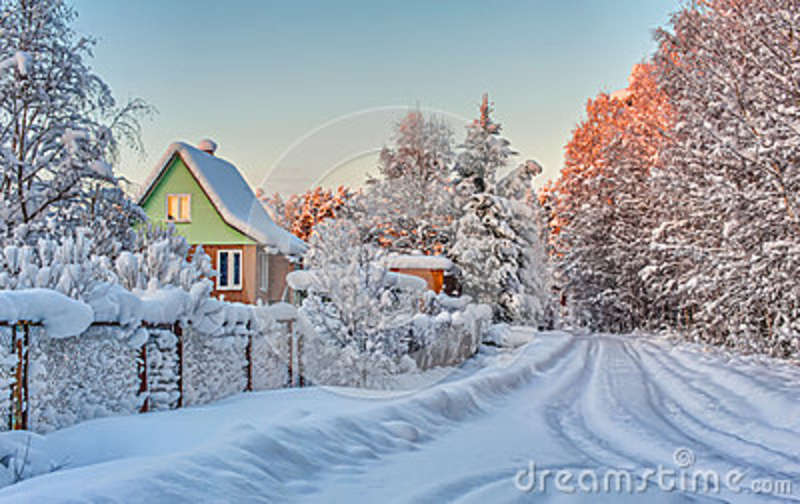 winter rural landscape with the road the forest and the. Black Bedroom Furniture Sets. Home Design Ideas