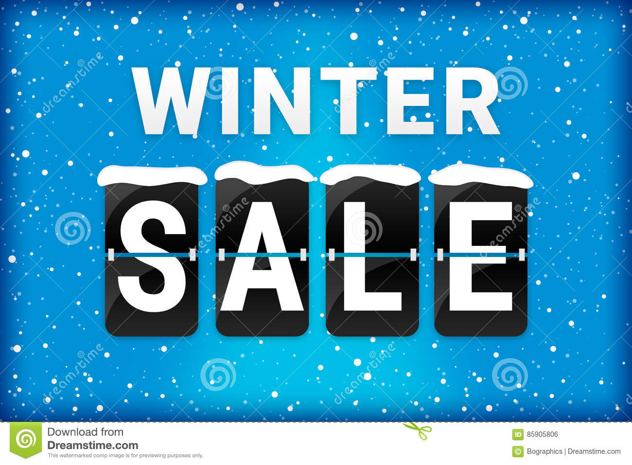Winter sale analog flipping text blue