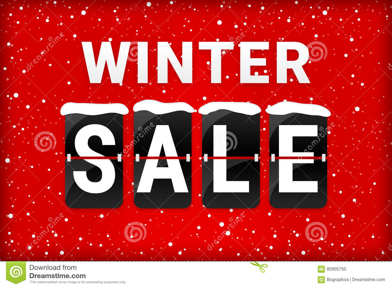 Winter sale analog flipping text red