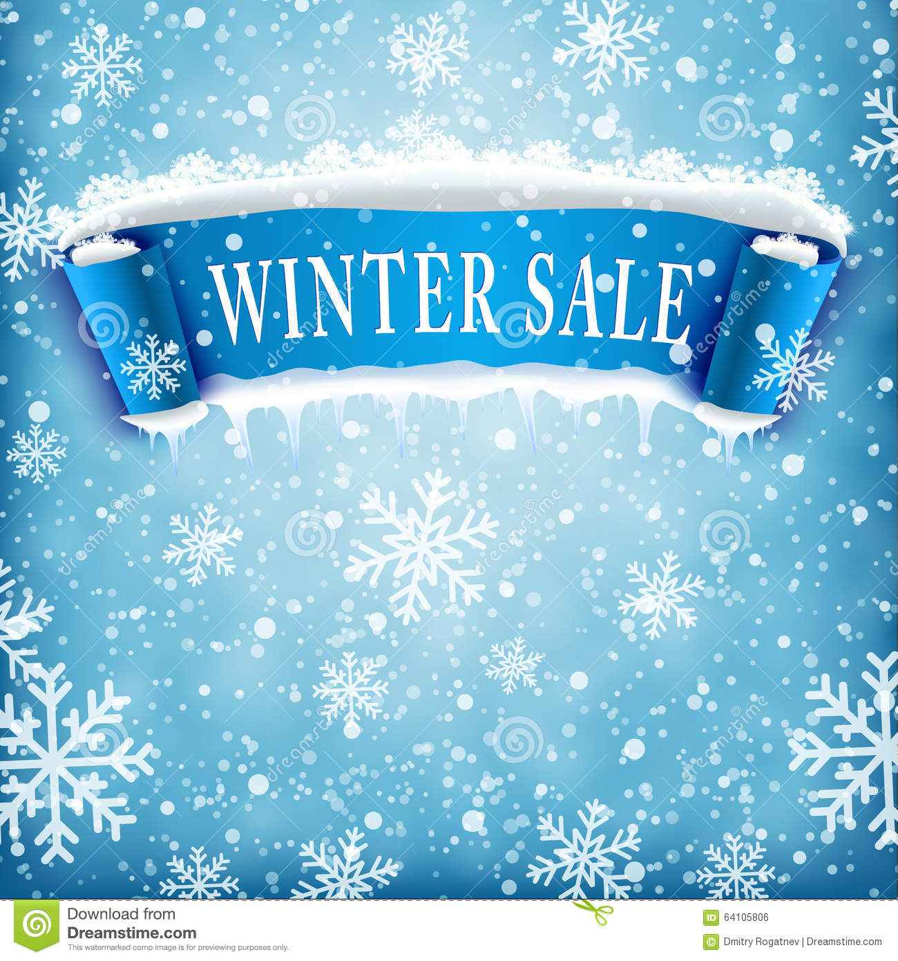 Winter Sale Background With BLUE Realistic Ribbon Stock ...