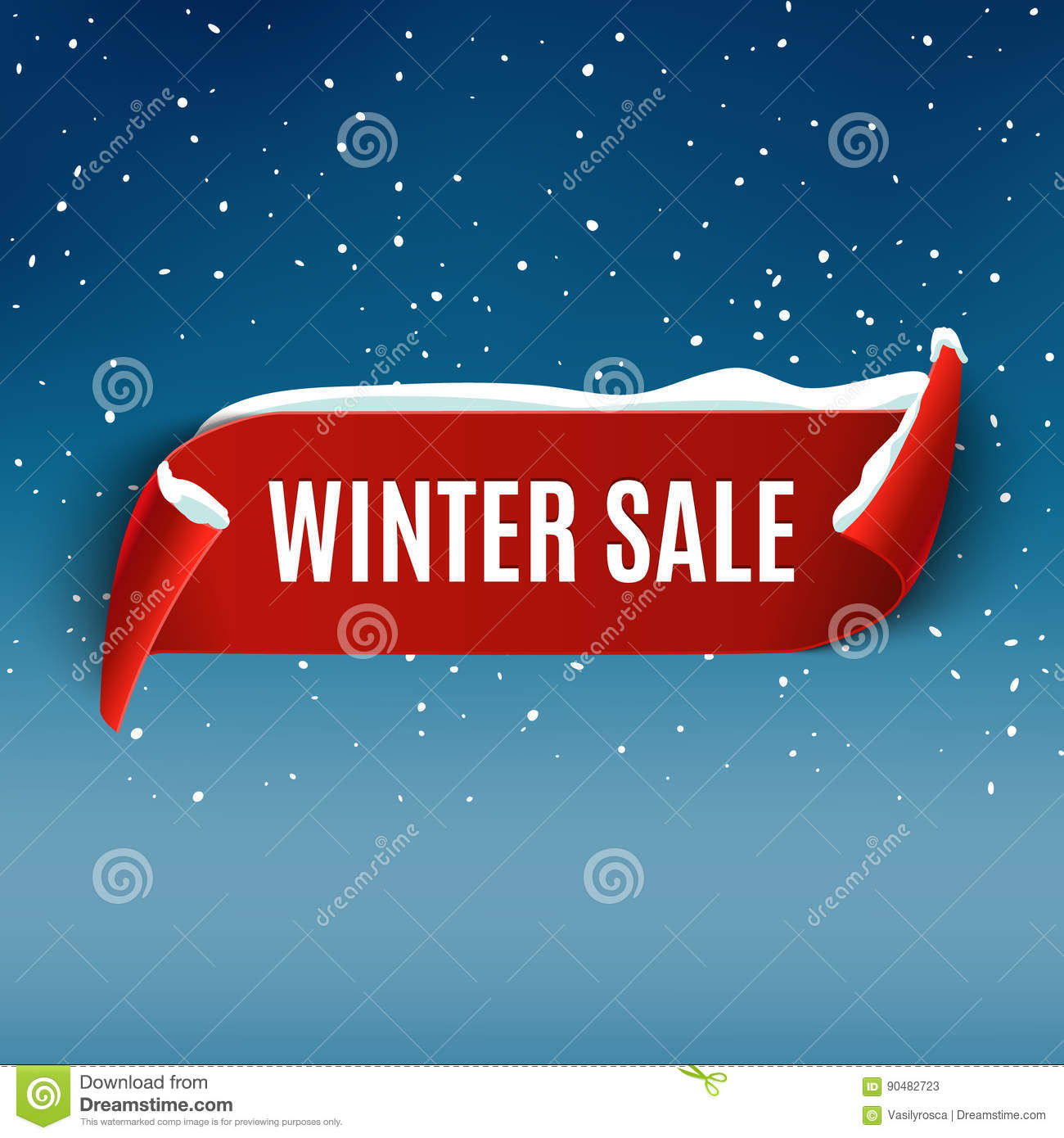 Winter sale background with red realistic ribbon. Winter poster or banner promotional design with snow. Vector discount marketing