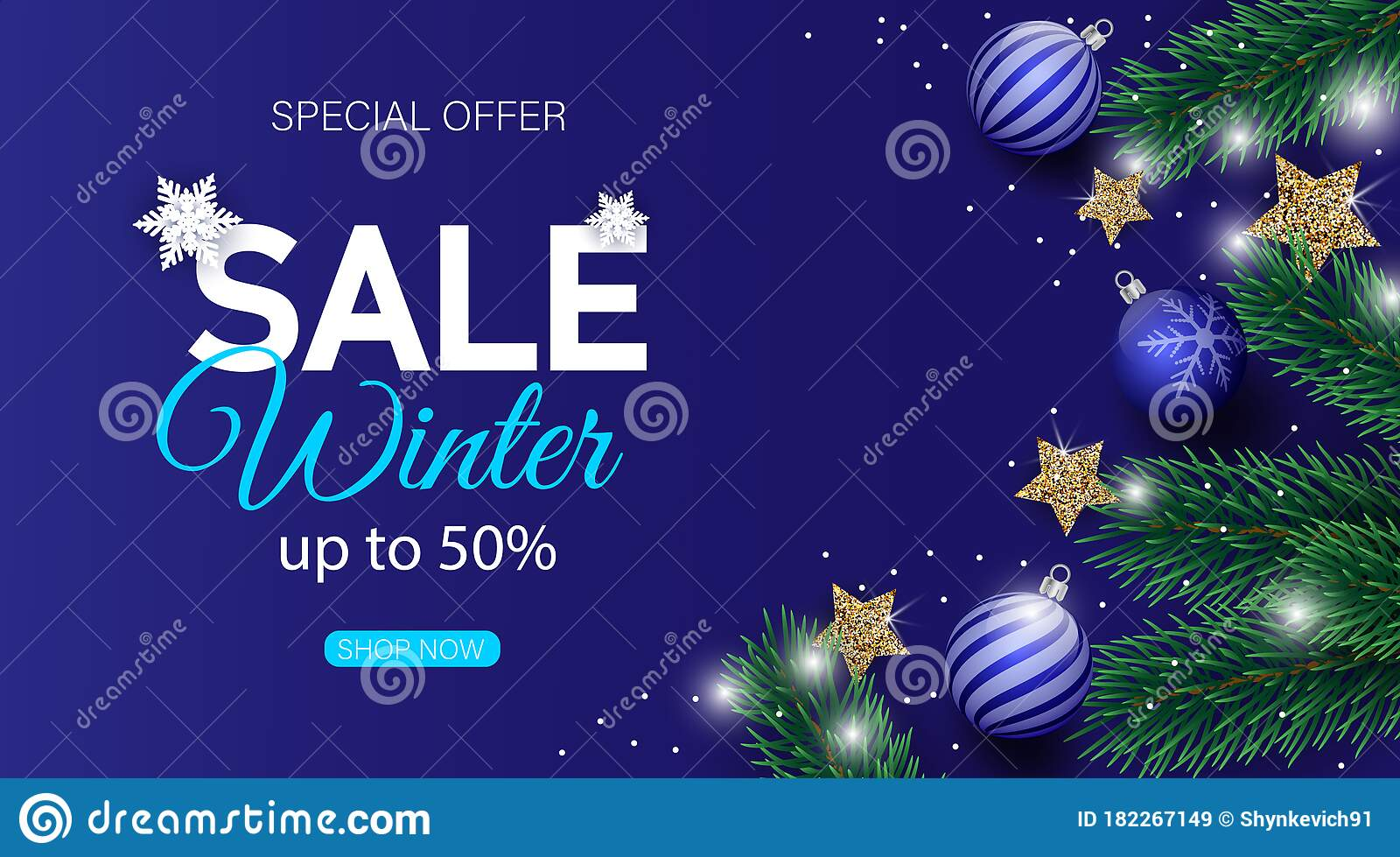Winter Sale Banner Decorated With Christmas Tree Branches And Snow Stock Illustration Illustration Of Blue Christmas 182267149