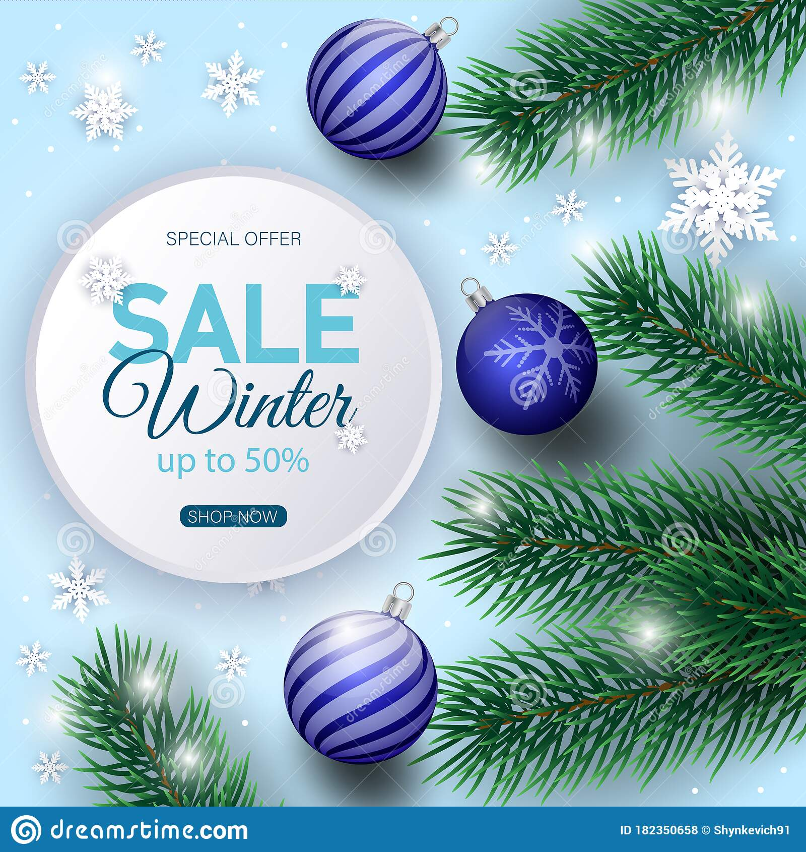 Winter Sale Banner Decorated With Christmas Tree Branches And Snow Stock Vector Illustration Of Season Decoration 182350658