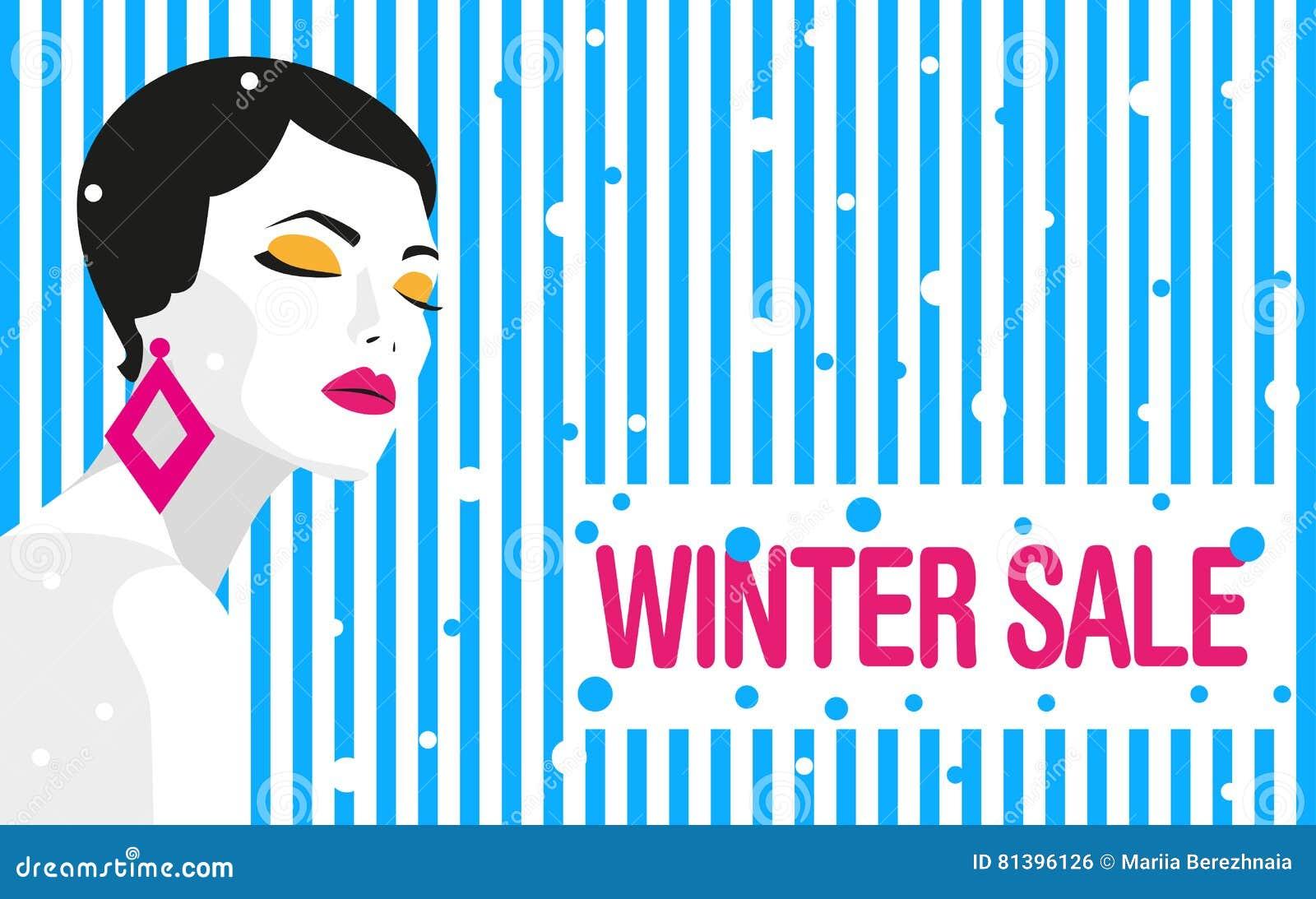 Winter sale. Banner. Fashion girl. Bold, minimal style. Pop Art.
