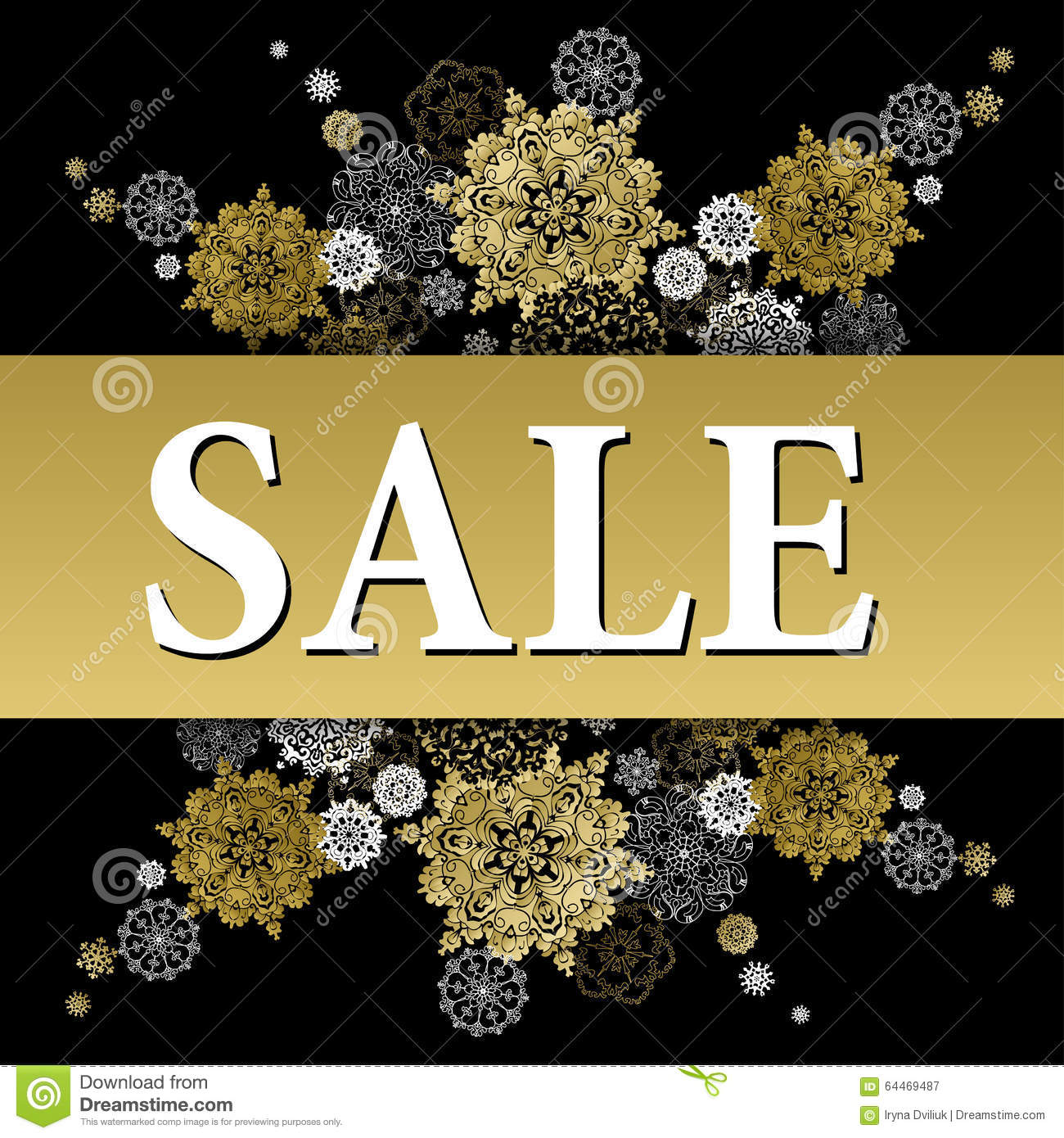 winter sale banner printable card template with golden snowflakes