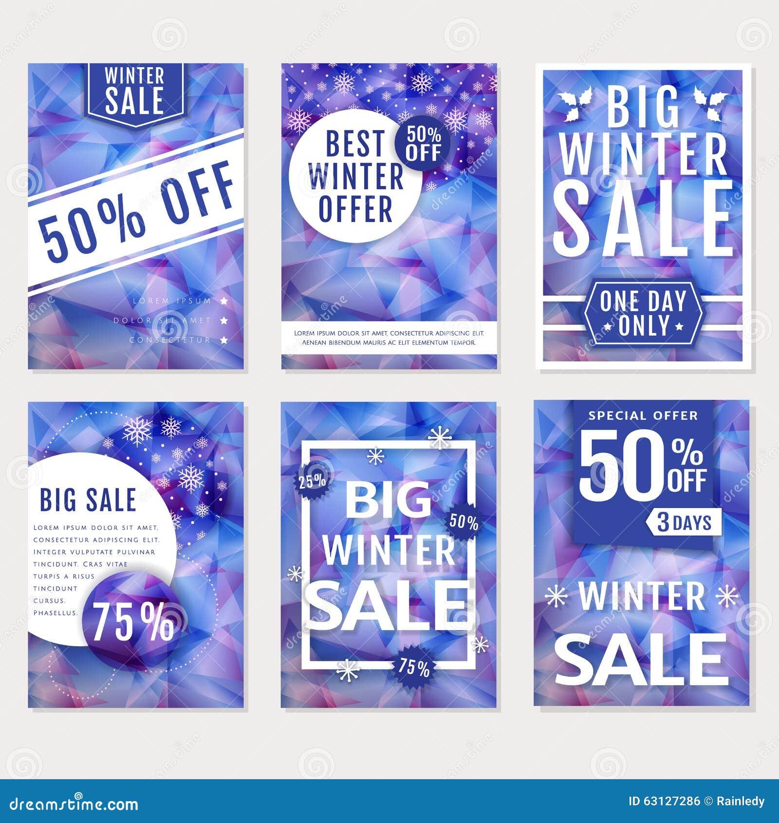 Winter Sale Banners. Vector Set. Stock Vector