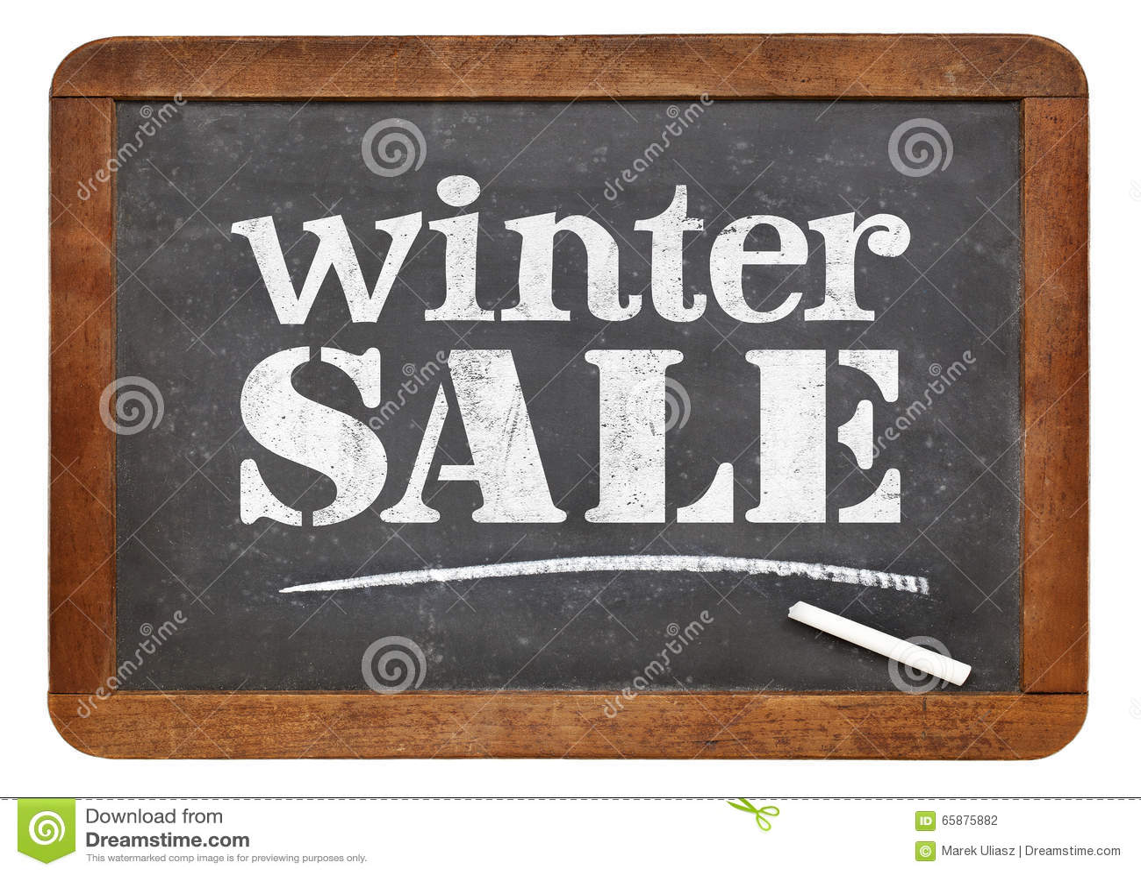 winter sale blackboard sign stock photo