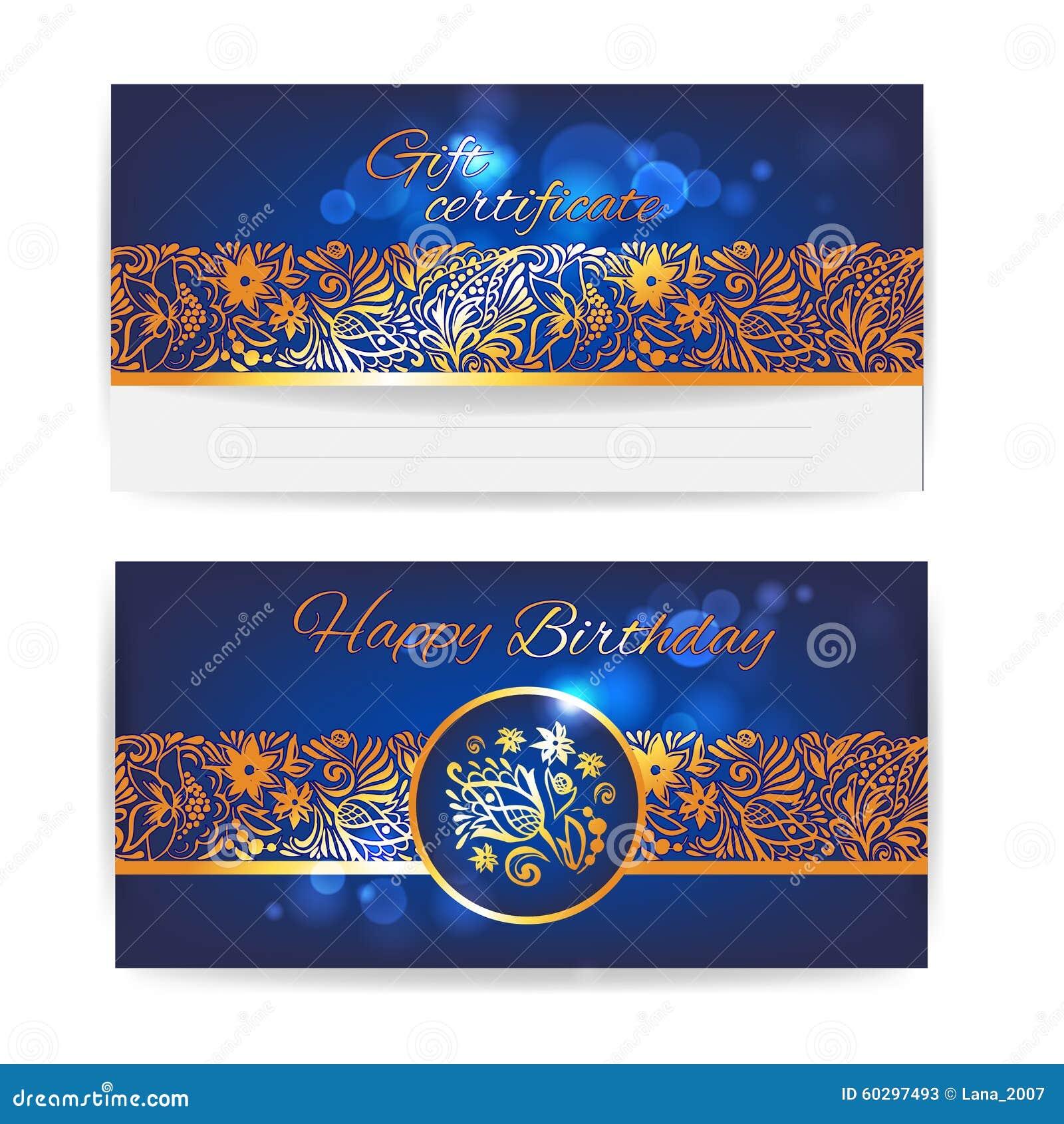 gift certificate floral design vector print template stock vector image 60297493. Black Bedroom Furniture Sets. Home Design Ideas