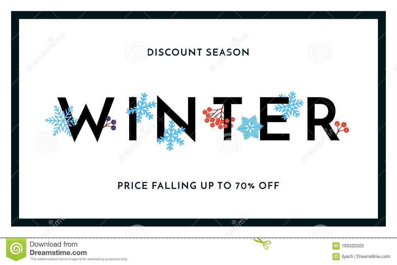 Winter sale discount season banner or poster design template. Vector winter holiday sale discount shopping text for price off redu