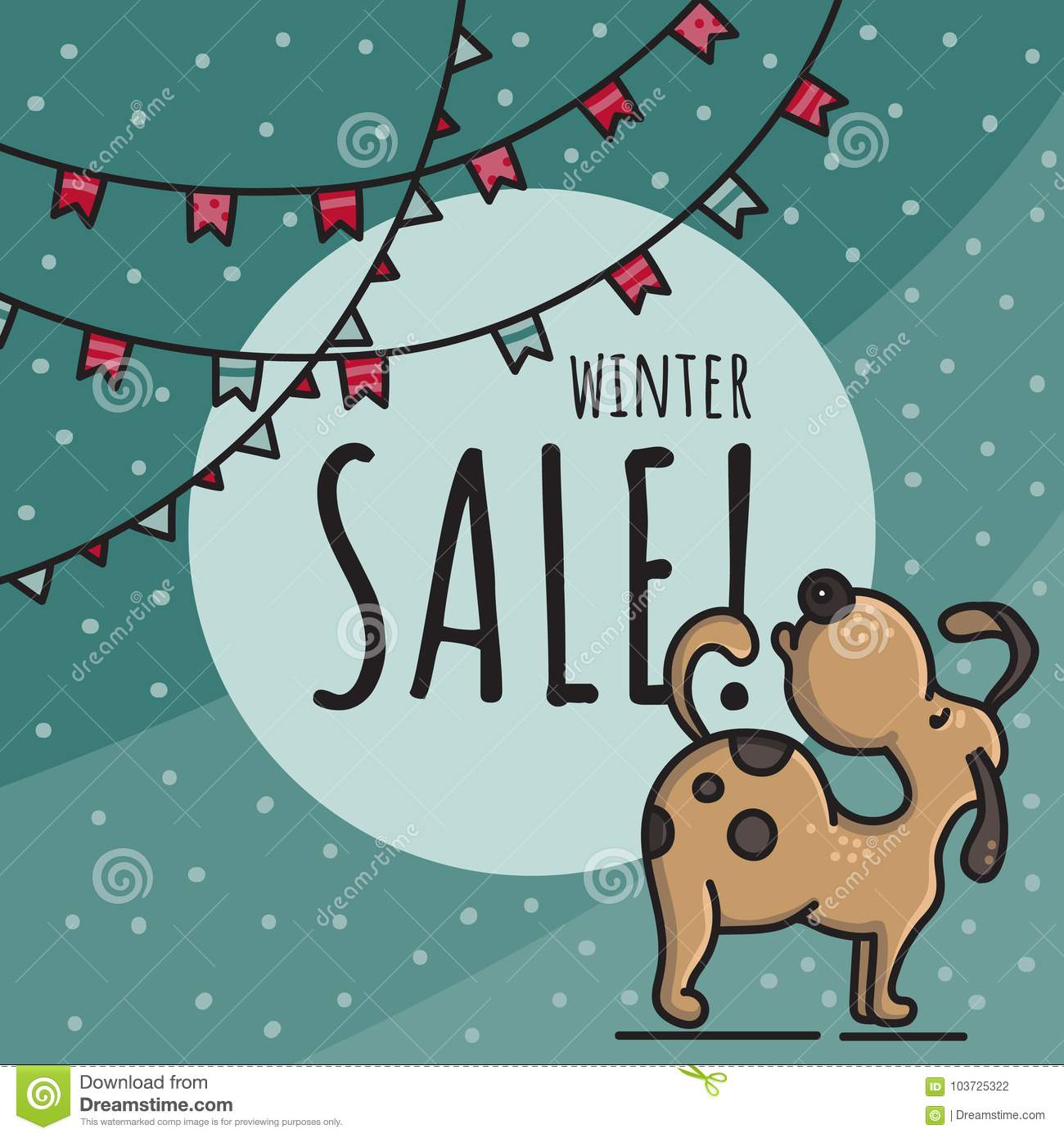 Winter sale hand drawn doodle illustration with dog