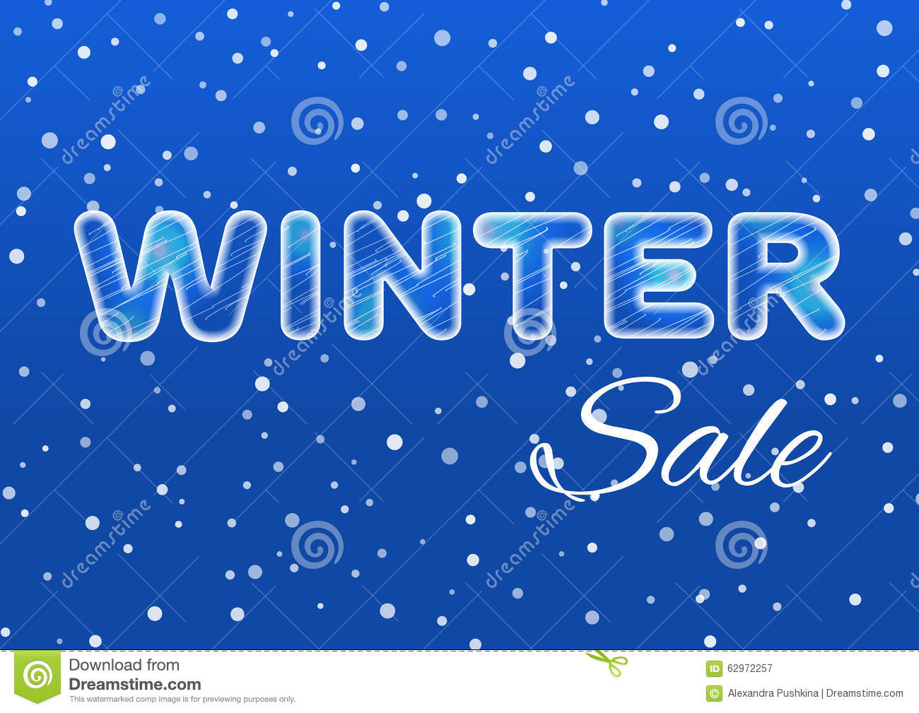 Winter Sale Ice Text On A Blue Background With A Falling