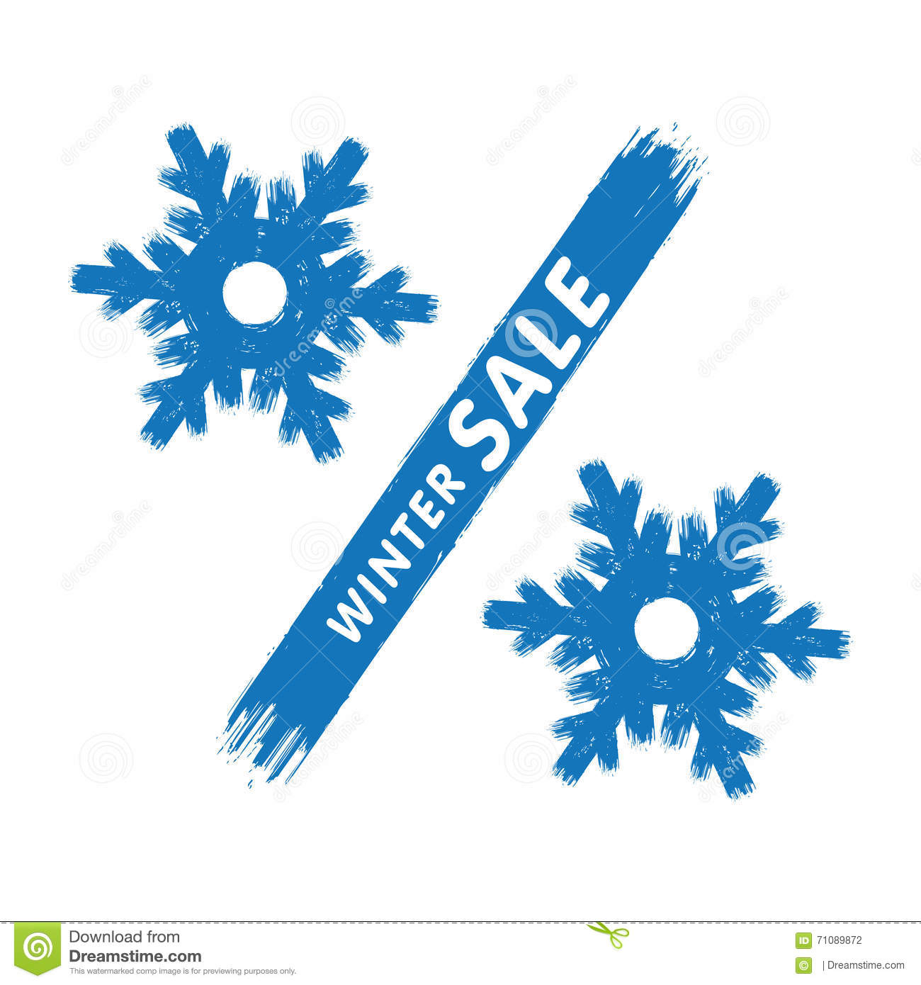 winter sale label  percent sign in a form of the hollow