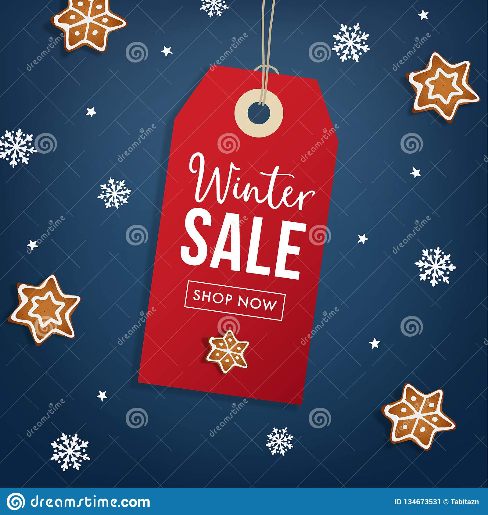 Winter Sale Poster Template. Hanging Red Gift Tag, Label