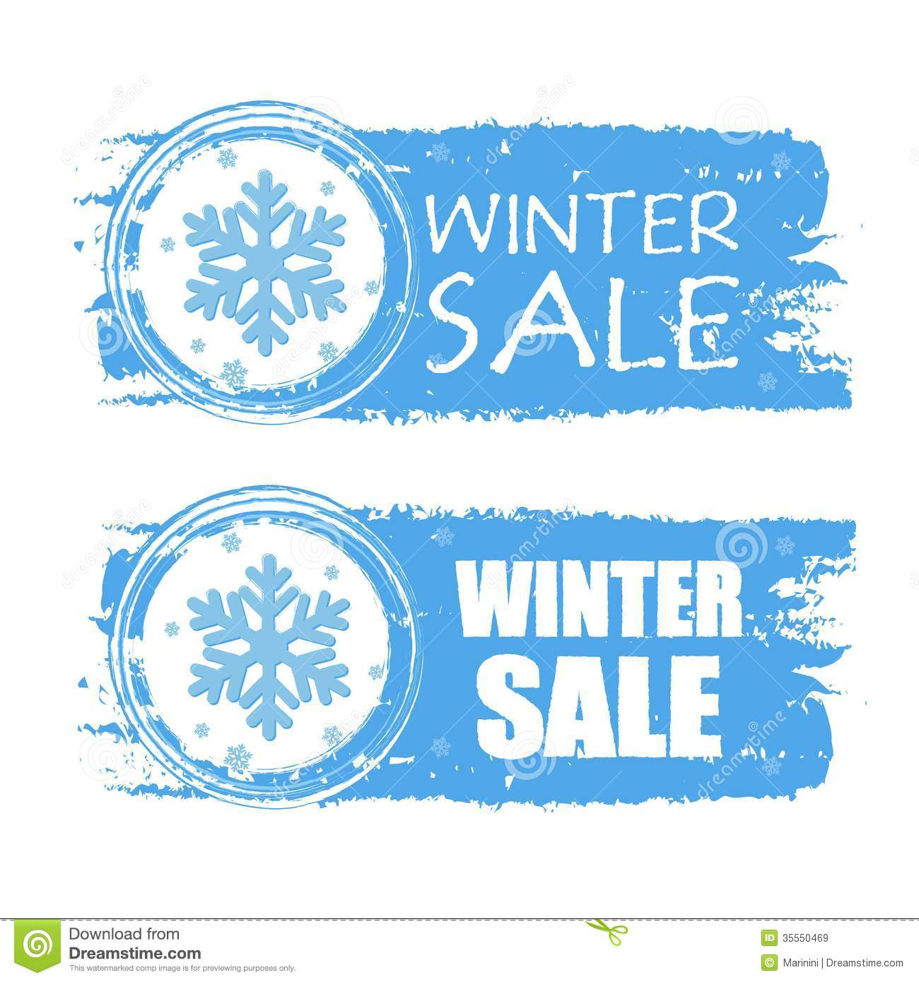 winter sale with snowflake on blue drawn banners stock