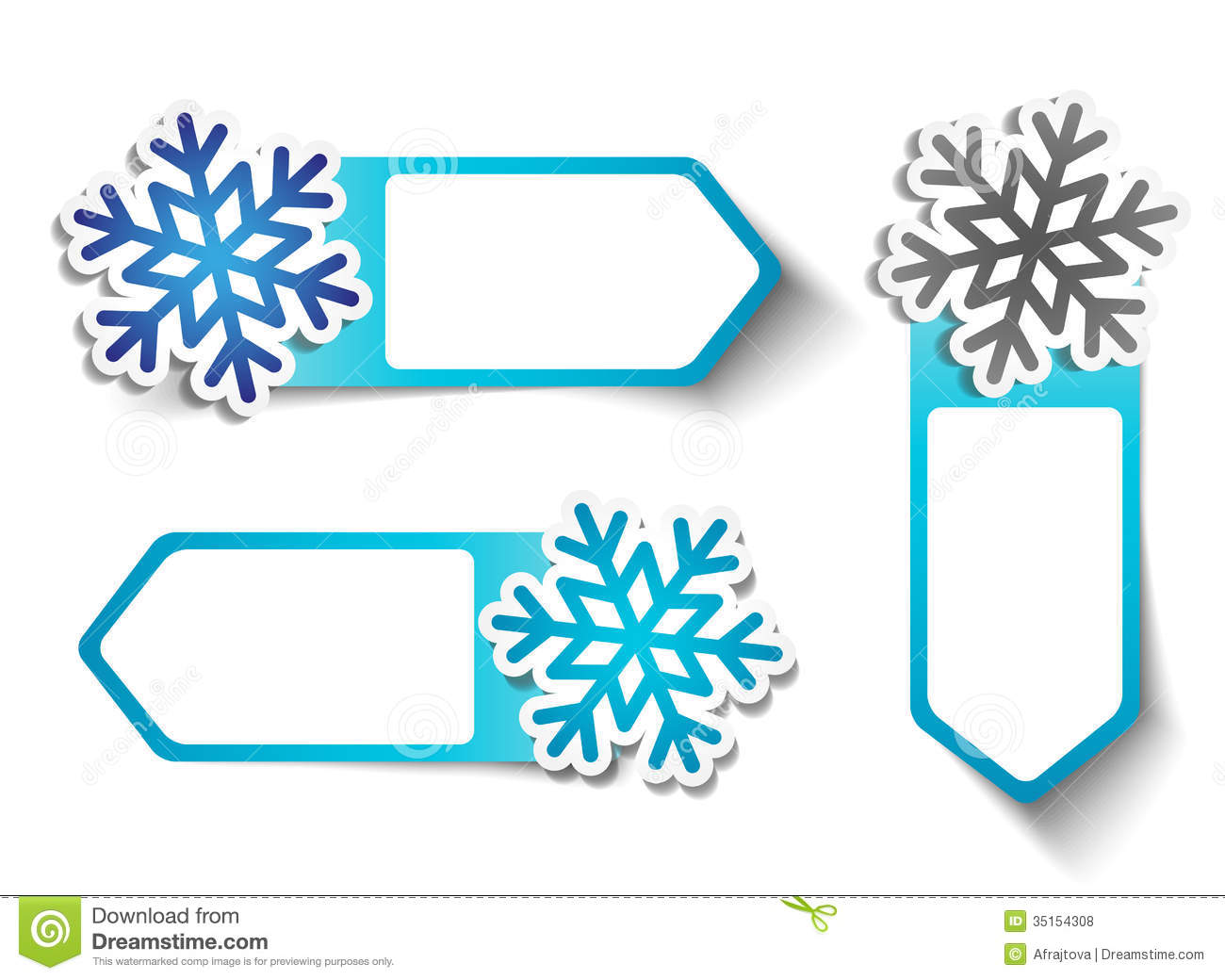 Winter Sale Stickers Snowflakes Royalty Free Stock