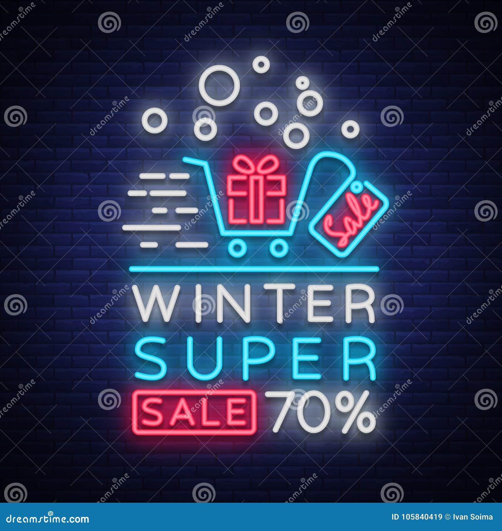 winter sale vector  neon sign  poster  bright flyer  neon