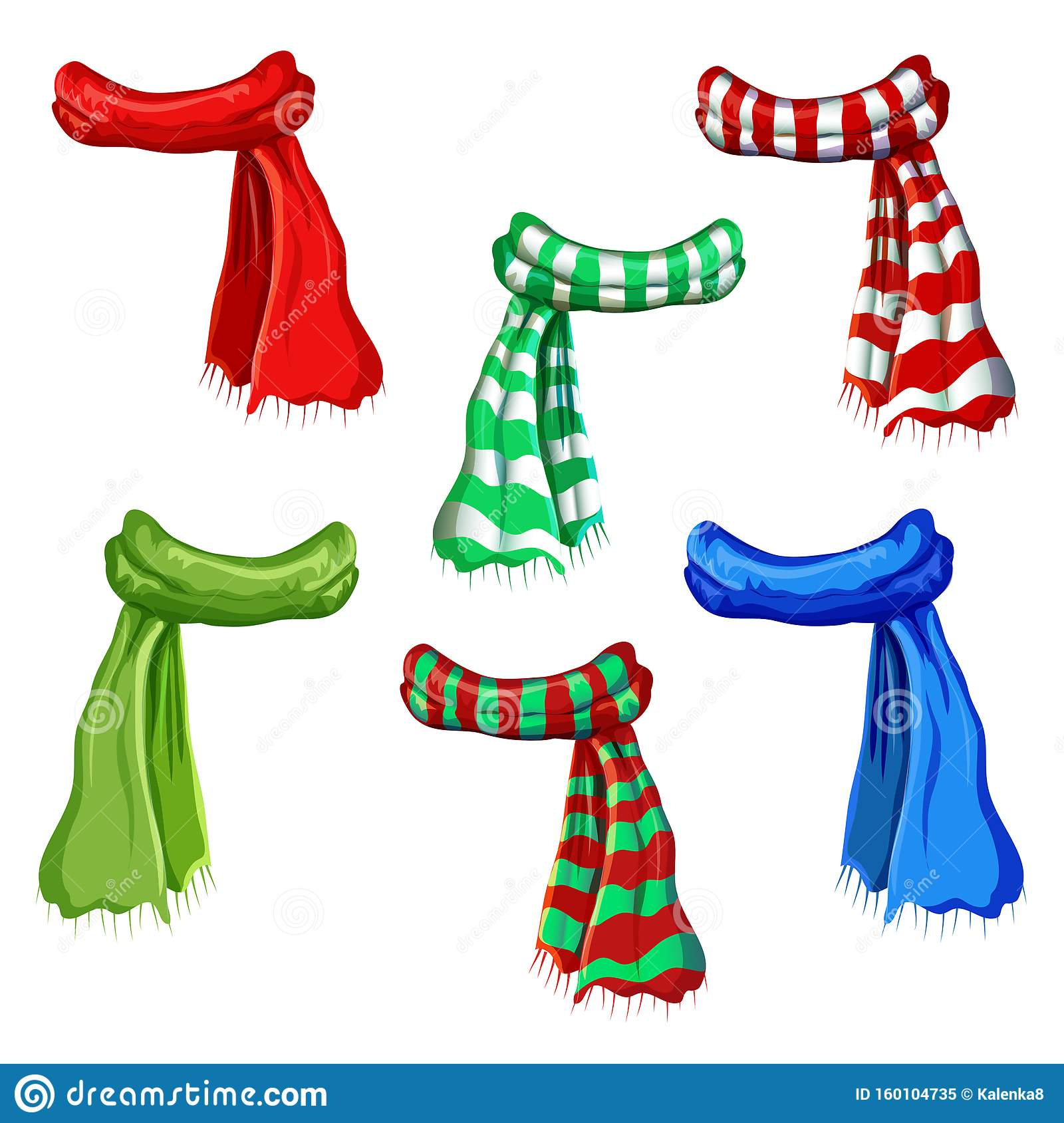 Winter Scarf Collection Isolated On White Background Illustration Of Red Green Striped Scarfs Wool Muffler Icon Set Winter Stock Illustration Illustration Of Christmas Drawing 160104735