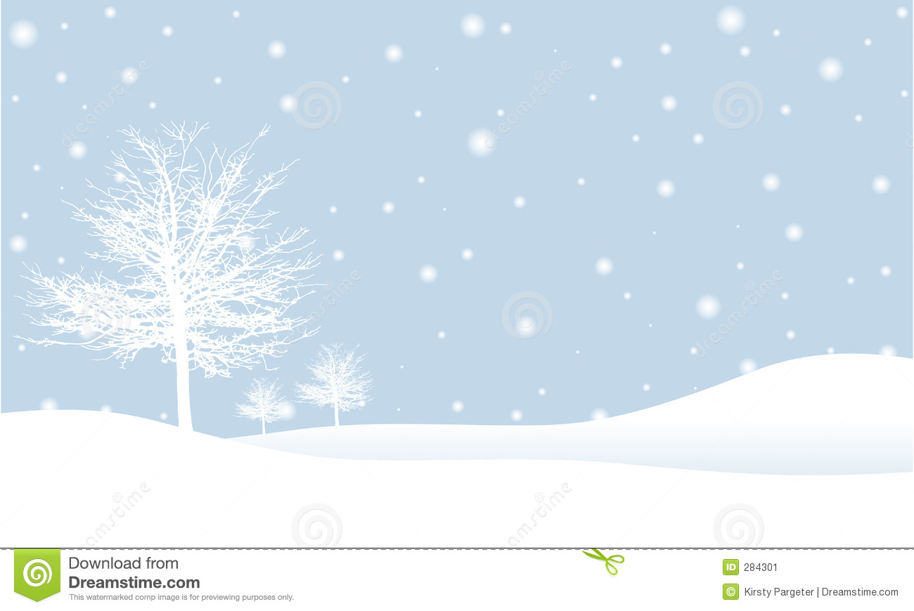 Simple winter scene illustration with winter trees on a snowy hillside ...