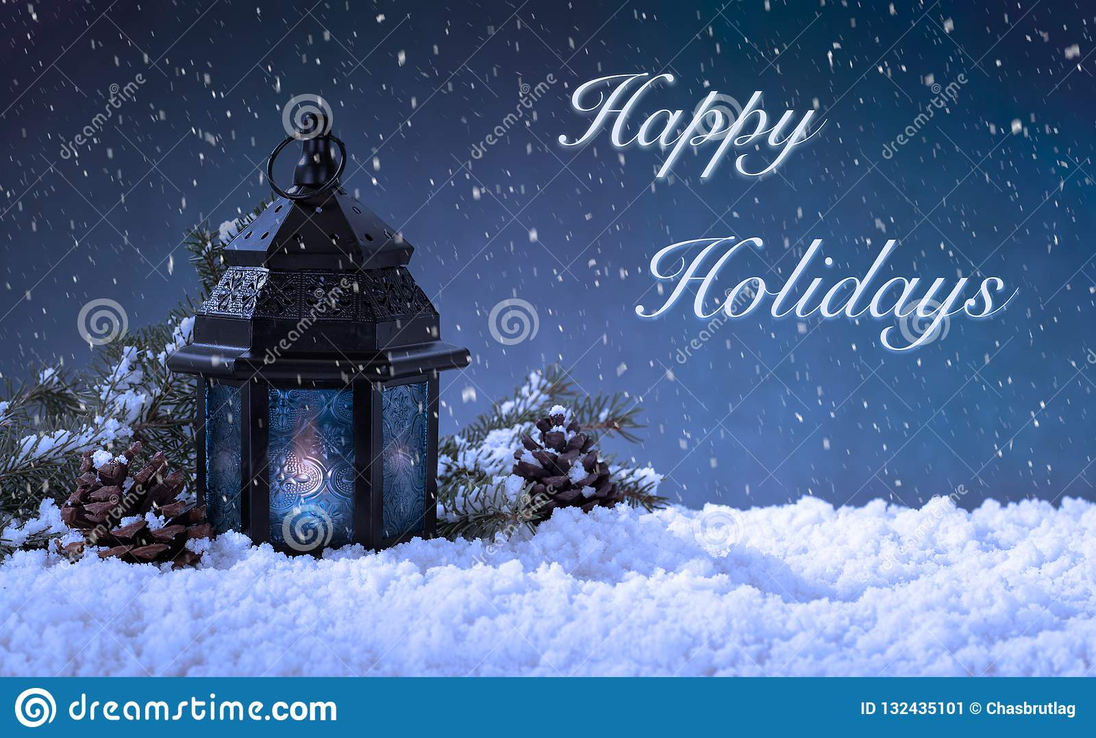 Christmas Scene With Happy Holidays Text