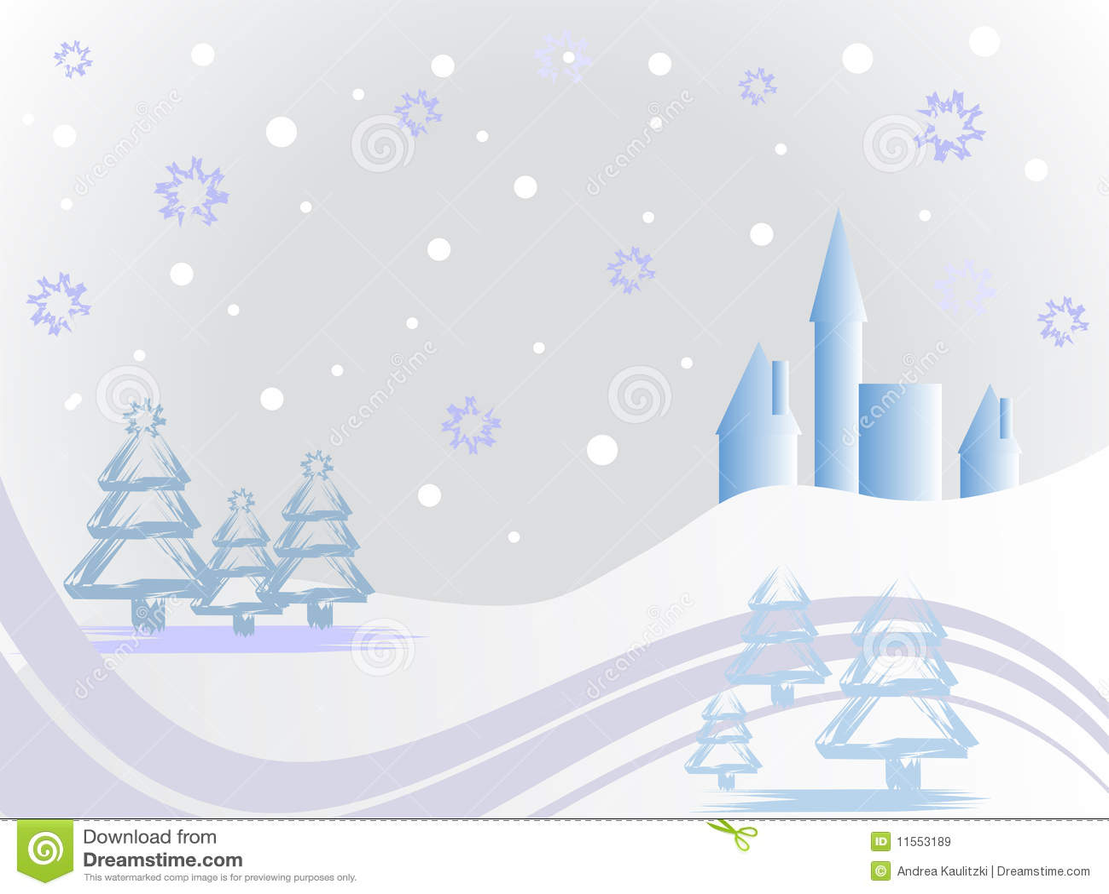 Winter Scene - Christmas Card Stock Vector - Illustration of forest ...