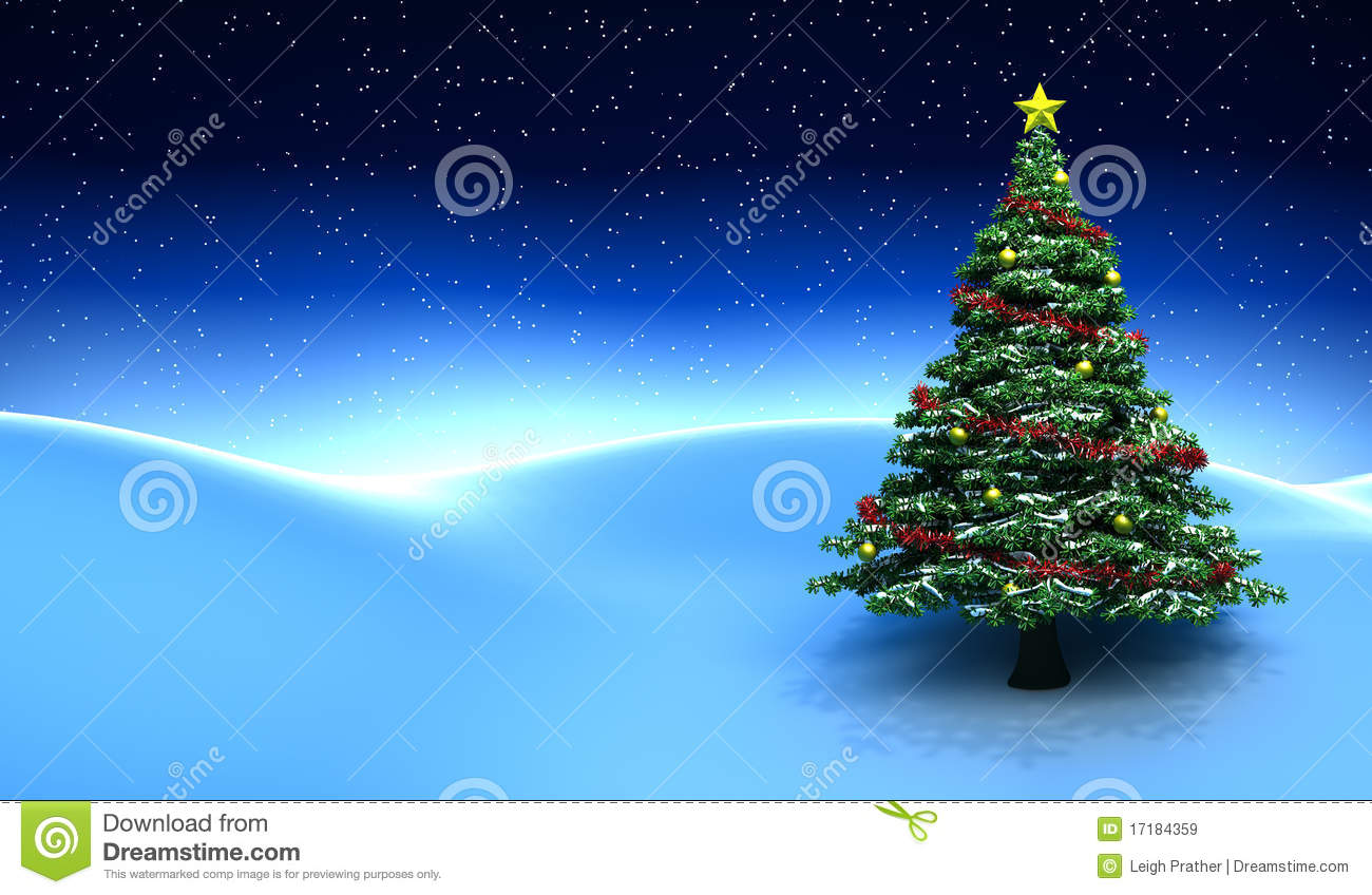 winter scene with christmas tree stock illustration illustration