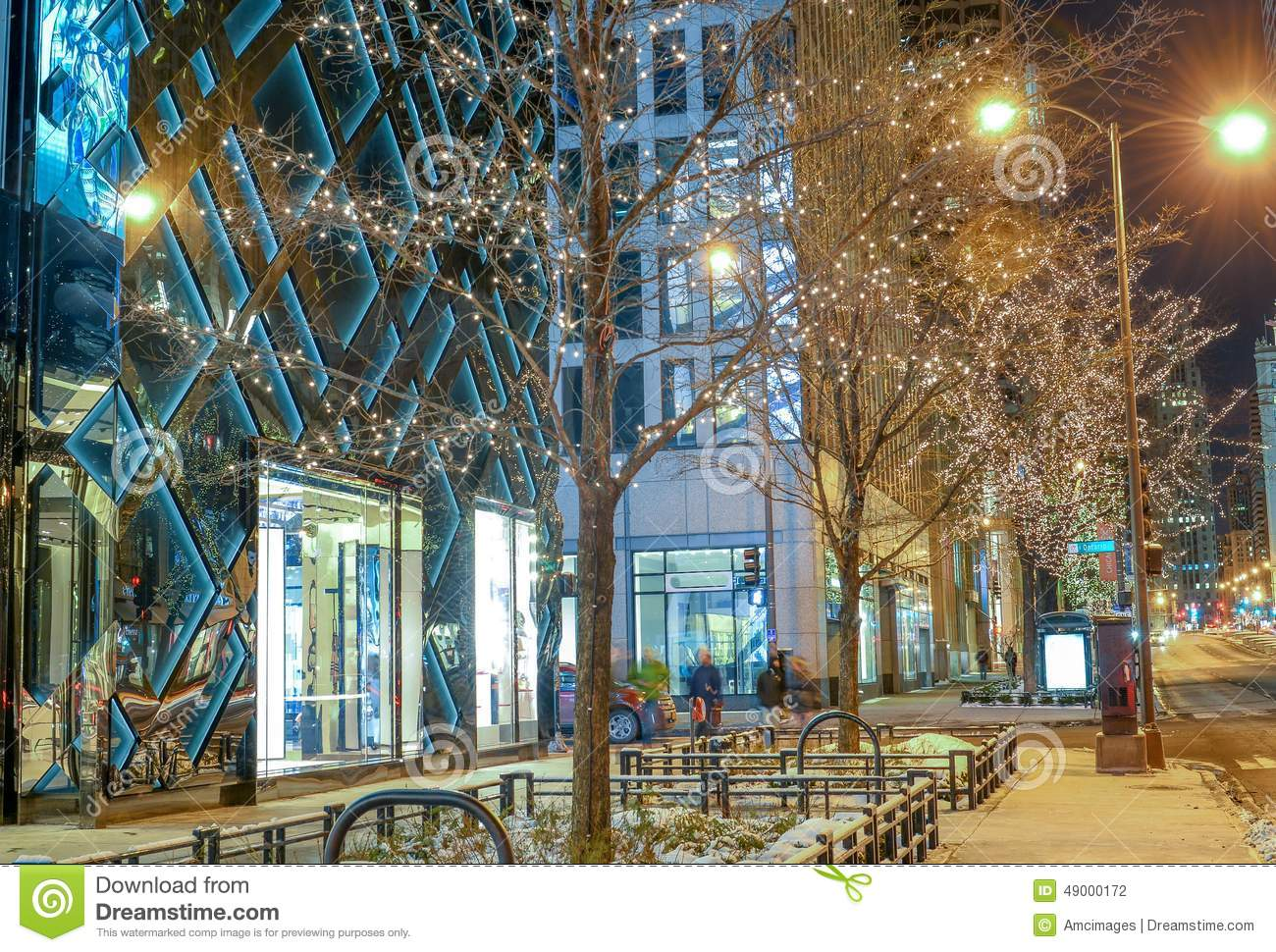 winter scene in downtown chicago at night stock photo image of