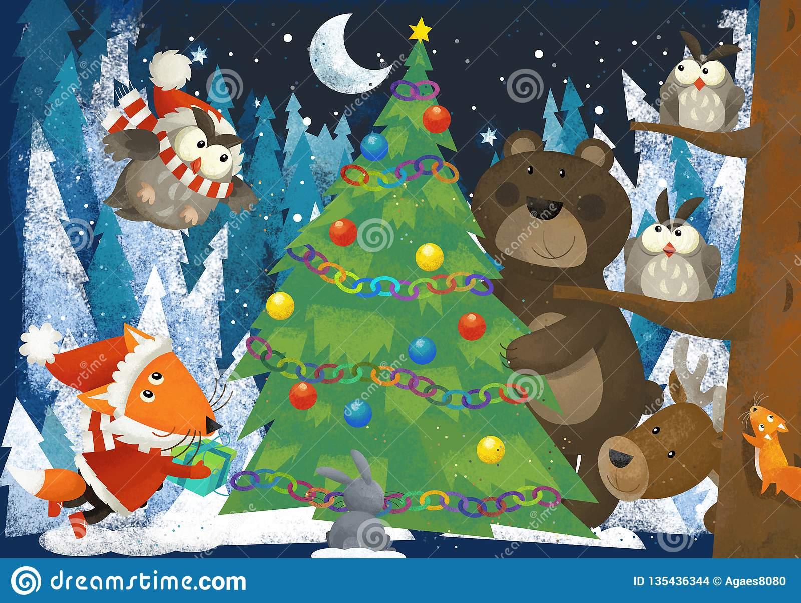 Winter scene with forest animals reindeers bear fox and owl near christmas tree - traditional scene