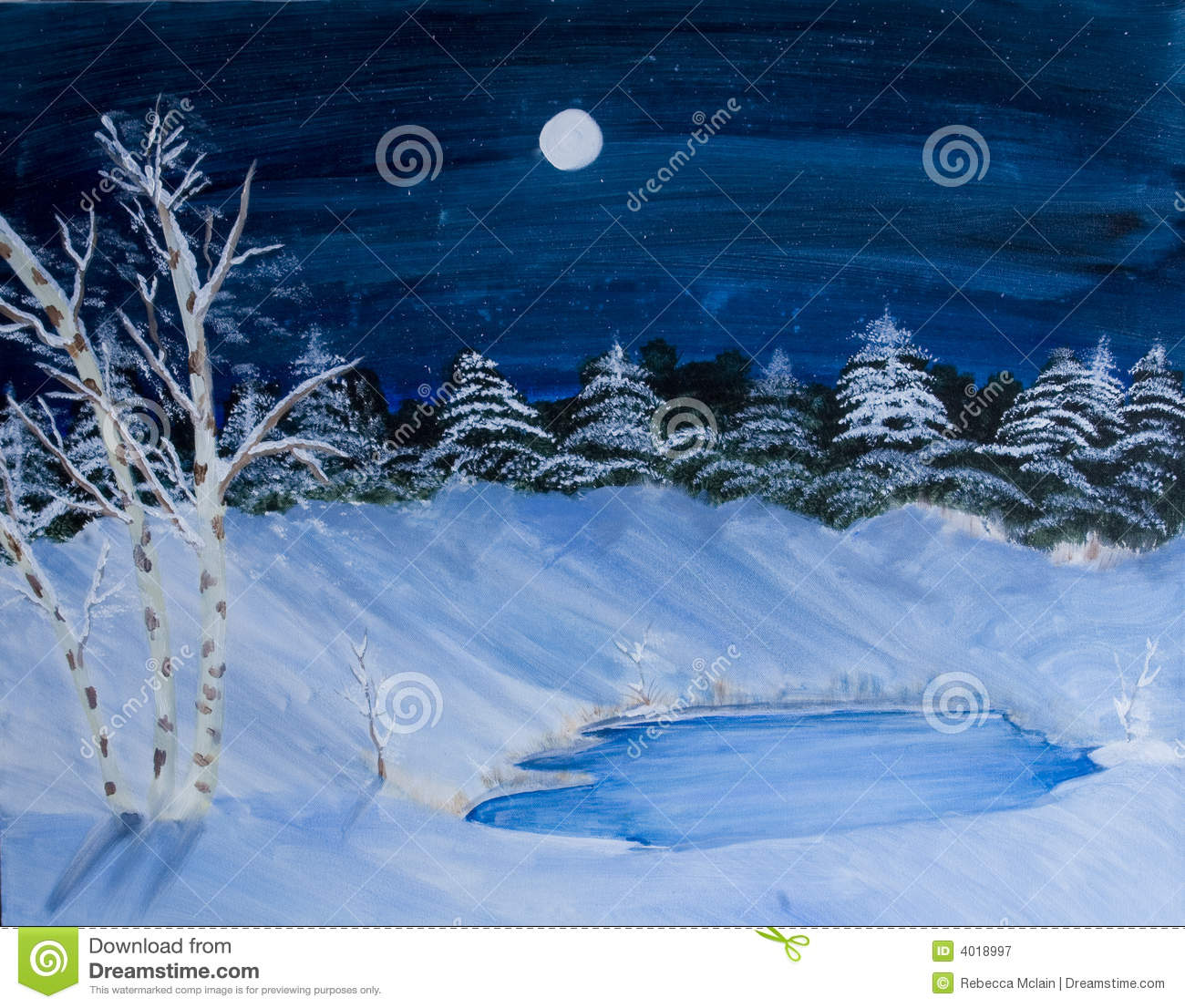 Winter Scene Landscape Painting Royalty Free Stock Photography - Image ...
