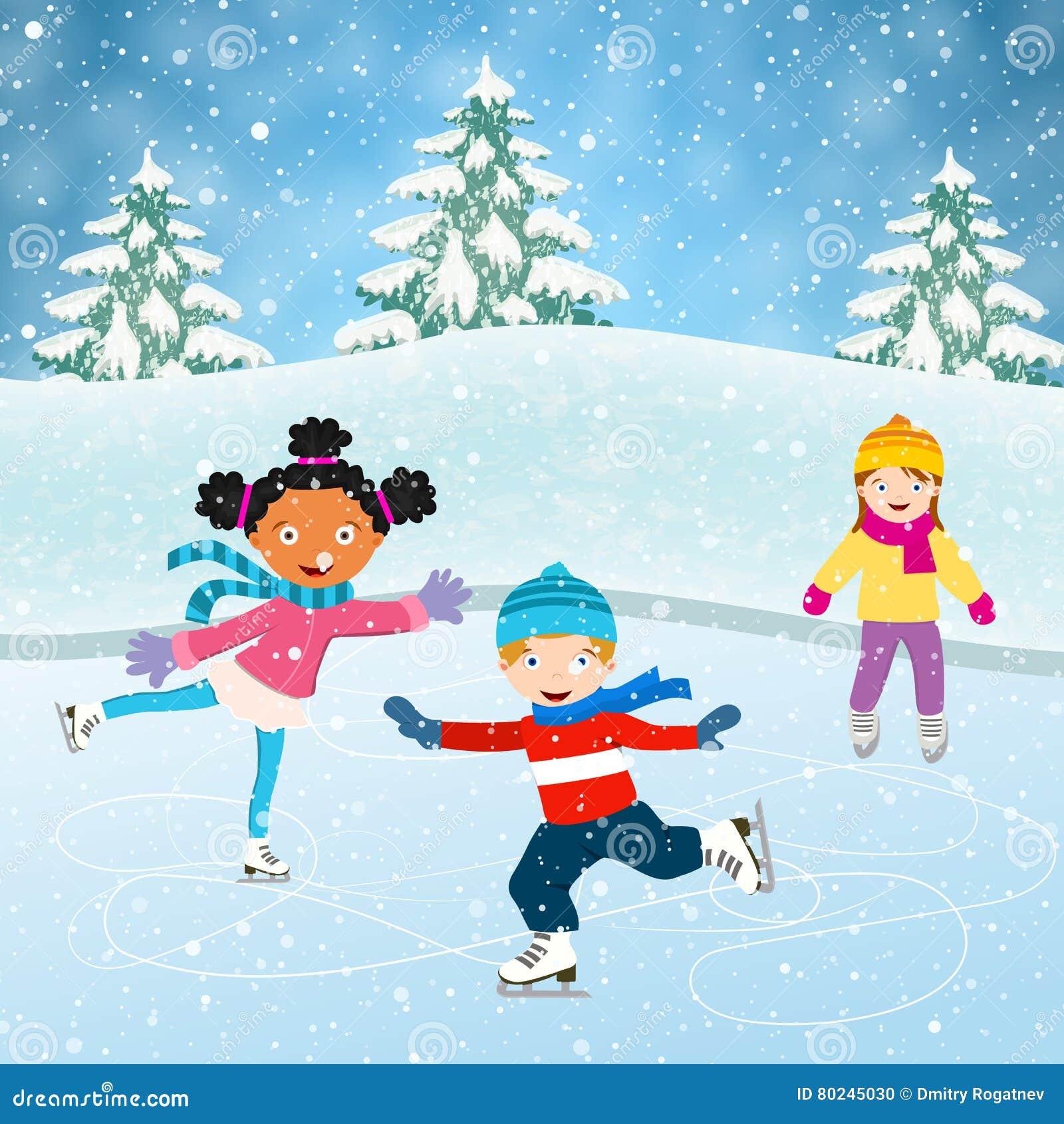 Kids Ice Skateing Clip Art