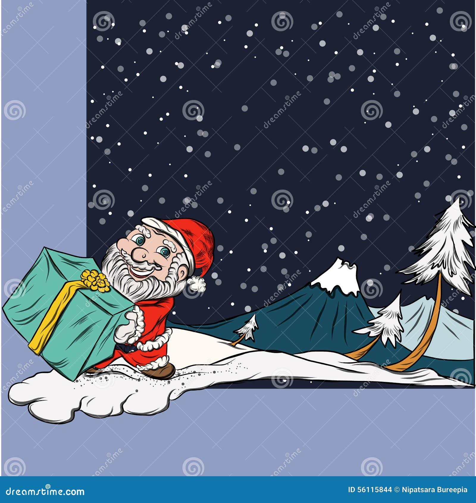 Winter-Schnee-Szene, Spaß Santa Character Im Weihnachten Vektor ...