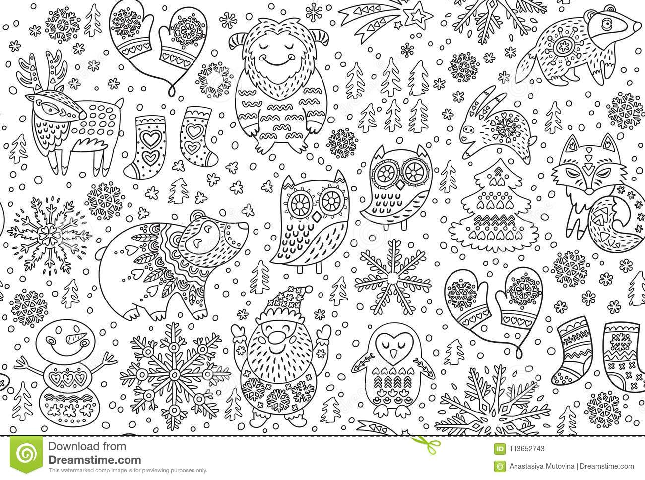 Winter Seamless Pattern With Decorative Fancy Animals In
