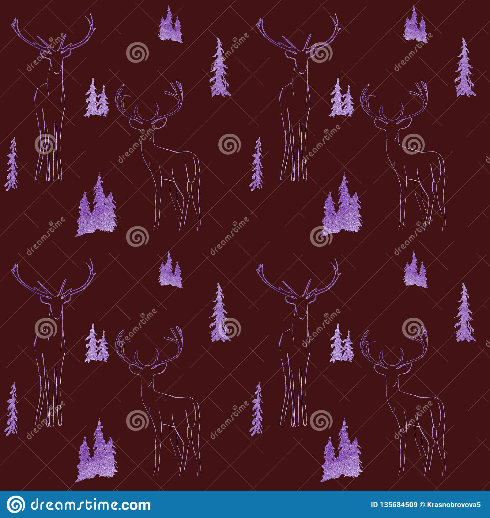 winter seamless pattern with glittering fir trees and deer in forest