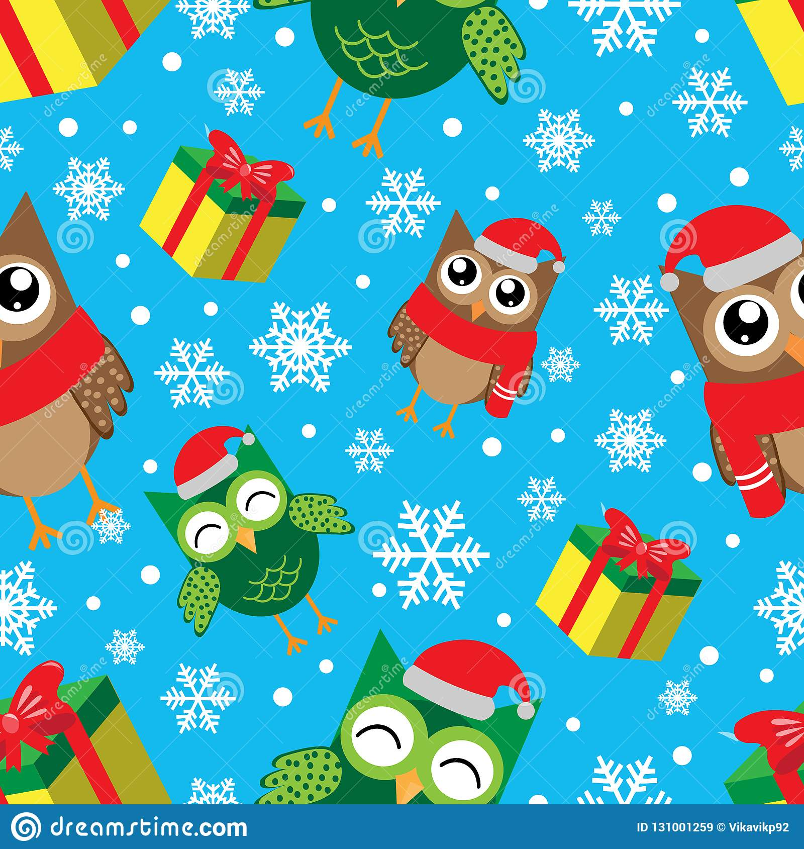winter seamless pattern with snowflakes owls and gifts happy new year and merry christmas