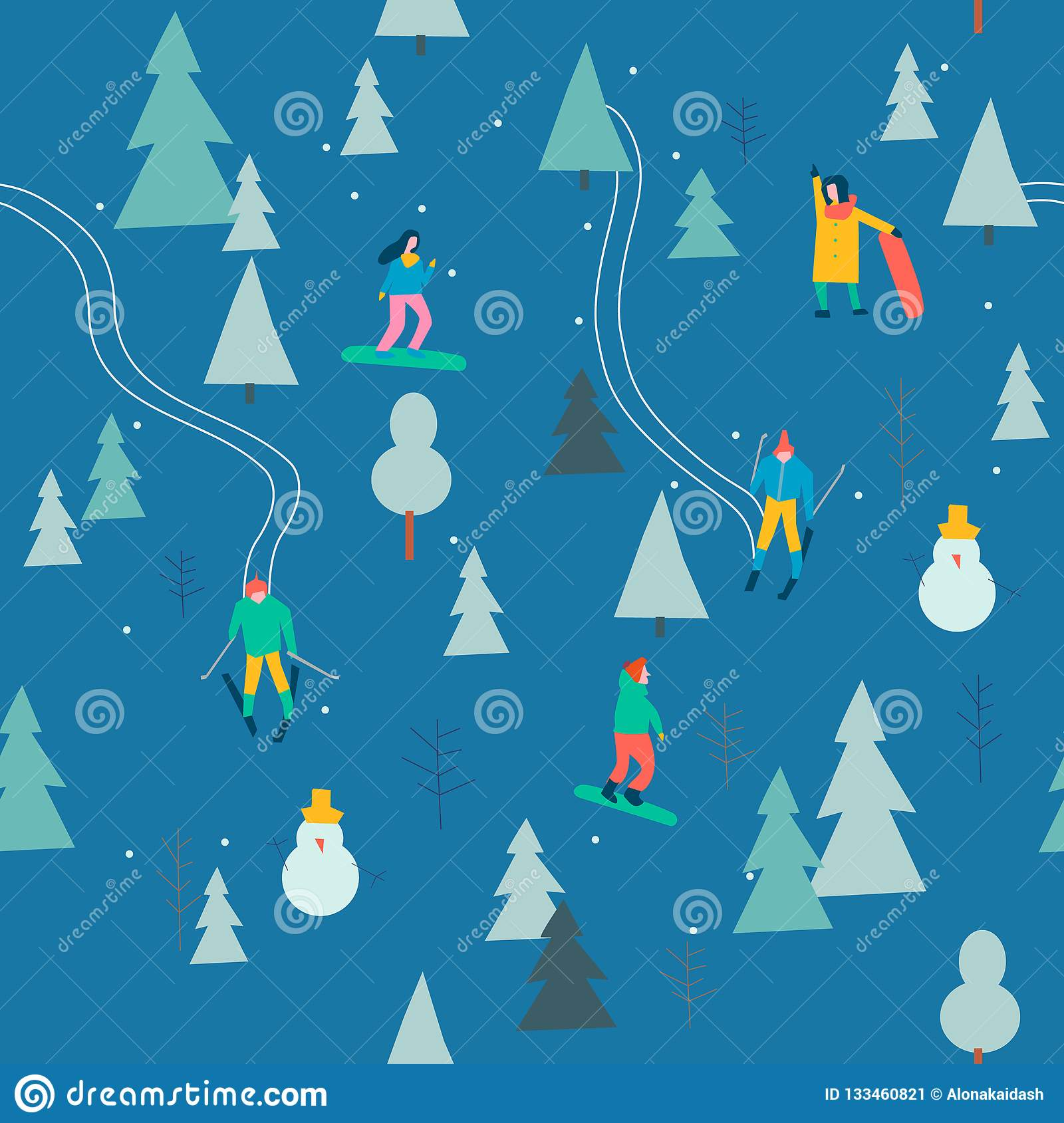 Skiing seamless pattern with people skiing and snowboarding in the snow forest in vector.
