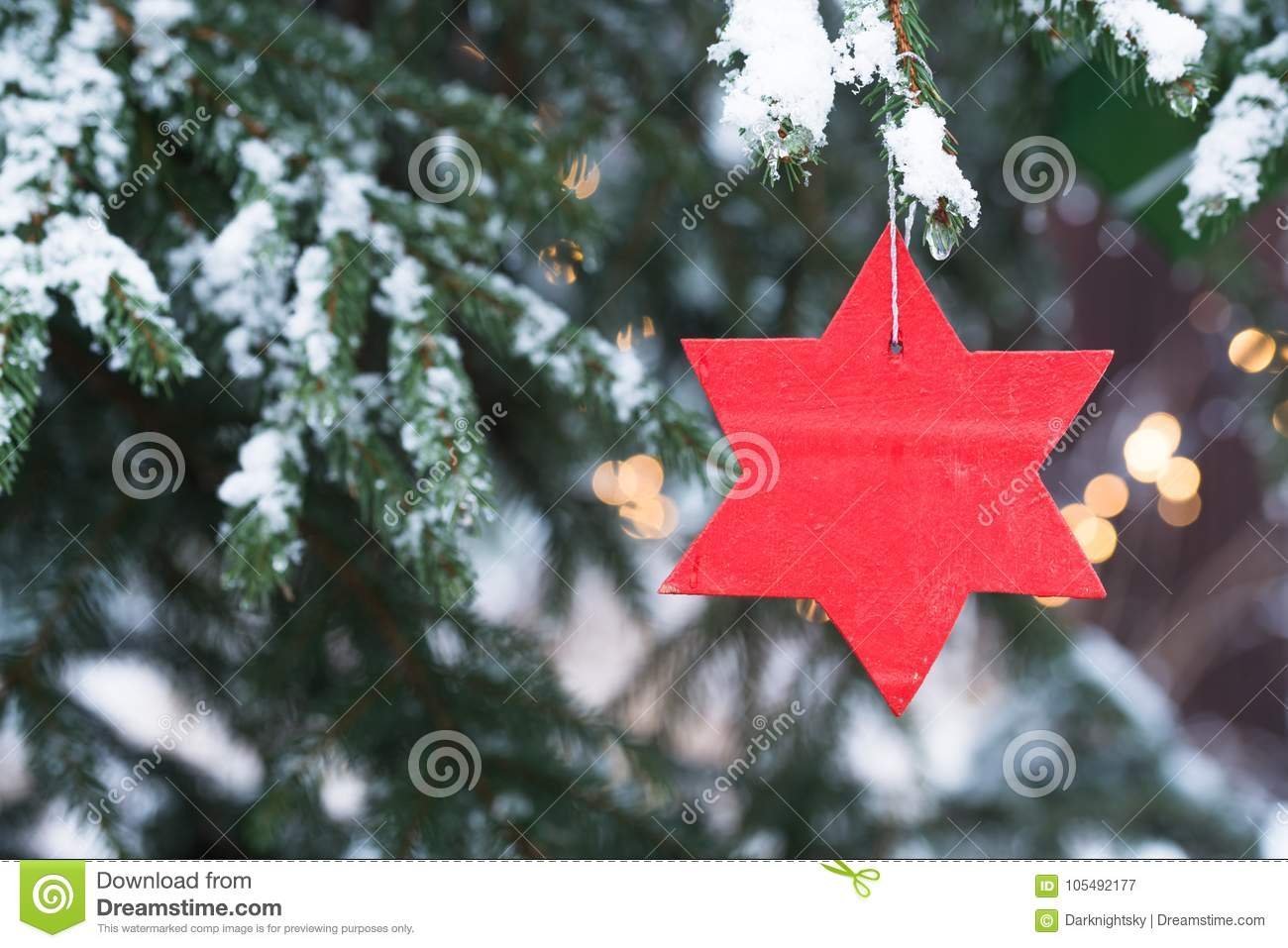Winter Season Christmas Tree With Snow And Candles Stock Image